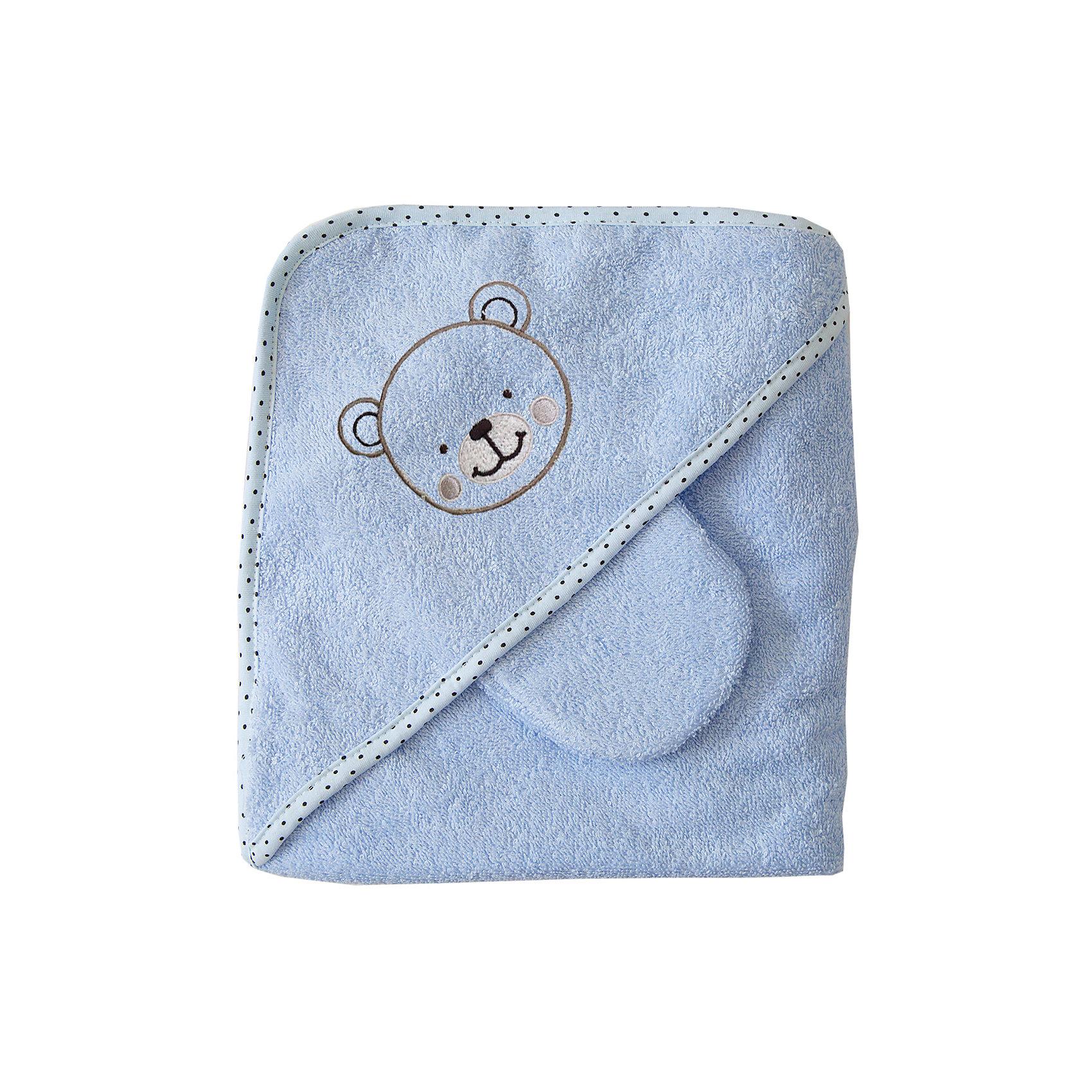 Махровое полотенце с уголком, 75х75см., Baby Nice, голубойПолотенца, мочалки, халаты<br>Комплект махровый для купания детский изготовлен из 100% натурального хлопка — уютный и очень комфортный по тактильным ощущениям. Специальная обработка плотной махровой ткани придает ей особые впитывающие влагу свойства, а также необыкновенную мягкость и пушистость. В комплект входит большой уголок 120Х120 см, который служит малышу одновременно полотенцем и капюшоном, а так же варежка для мытья ребенка и две салфетки. Комплекты махровые для купания окрашены гипоаллергенными красителями<br><br>Ширина мм: 250<br>Глубина мм: 250<br>Высота мм: 50<br>Вес г: 200<br>Возраст от месяцев: 0<br>Возраст до месяцев: 12<br>Пол: Унисекс<br>Возраст: Детский<br>SKU: 6885015