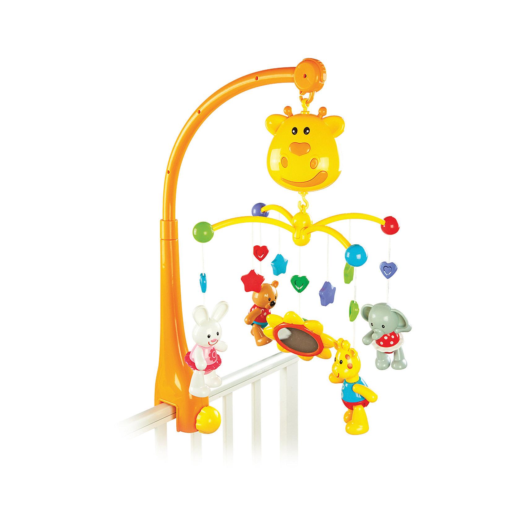 Мобиль Жирафики Жирафик многофункциональный, 18 мелодийИгрушки для новорожденных<br>Характеристики:<br><br>• 18 мелодий;<br>• два режима: кручение с музыкой и музыка без кручения;<br>• три вида мелодий: колыбельные, звуки природы, веселая музыка;<br>• таймер на 10-15-20 минут;<br>• ручки и ножки игрушек можно поворачивать;<br>• батарейки: АА - 2 шт. (не входят в комплект);<br>• размер мобиля: 60 см;<br>• материал: пластик, металл;<br>• возраст: с рождения;<br>• размер упаковки: 42х32х7,5 см;<br>• вес: 1,38 кг;<br>• страна бренда: Россия.<br><br>Мобиль - универсальная игрушка для малышей с самого рождения. Малыш сможет наблюдать за яркими крутящимися игрушками и слушаться приятную музыку. Когда ребенок подрастет, родители смогут предложить ему поиграть с игрушками отдельно. Ножки, ручки и головы игрушек можно поворачивать.<br><br>Мобиль имеет два режима работы: музыка без вращения игрушек и музыка с вращением игрушек. Мобиль имеет 18 встроенных мелодий: колыбельные мелодии, звуки природы и веселая музыка. Во время бодрствования малыш сможет послушать веселую музыку. А перед сном кроха успокоится, прослушивая колыбельные или звуки природы. Для смены мелодии нужно нажать на носик жирафа или на кнопку, расположенную ниже носика.<br><br>Мобиль оснащен таймером на 10,15 и 20 минут. Игрушка способствует развитию тактильных навыков, цветового восприятия и хватательного рефлекса.<br><br>Мультифункциональный мобиль Жирафик, 18 мелодий, Жирафики можно купить в нашем интернет-магазине.<br><br>Ширина мм: 420<br>Глубина мм: 75<br>Высота мм: 320<br>Вес г: 1380<br>Возраст от месяцев: 6<br>Возраст до месяцев: 2147483647<br>Пол: Унисекс<br>Возраст: Детский<br>SKU: 6885296