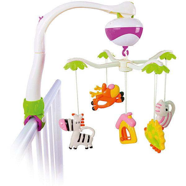 Мобиль Жирафики Зоопарк 2 режимаИгрушки для новорожденных<br>Характеристики:<br><br>• успокаивающие мелодии;<br>• два режима работы: вращение с музыкой и вращение без музыки;<br>• батарейки: АА - 3 шт. (не входят в комплект);<br>• материал: текстиль, металл, пластик;<br>• возраст: с рождения;<br>• размер упаковки: 8,5х20х32 см;<br>• вес: 600 грамм;<br>• страна бренда: Россия.<br><br>Мобиль подходит для малышей с самого рождения. Ребенок сможет наблюдать за крутящимися игрушками и слушать успокаивающую музыку перед сном. На карусельке расположены 4 игрушки в виде животных и одна игрушка в виде домика. Все игрушки выполнены в ярких цветах, привлекающих внимание ребенка.<br><br>Мобиль имеет два режима работы: вращение с музыкой и вращение без музыки. Для работы необходимы три батарейки АА (не входят в комплект).<br><br>Игрушка способствует развитию цветового и слухового восприятия.<br><br>Подвеску музыкальную Мобиль Зоопарк, 2 режима, Жирафики можно купить в нашем интернет-магазине.<br><br>Ширина мм: 200<br>Глубина мм: 85<br>Высота мм: 320<br>Вес г: 600<br>Возраст от месяцев: 6<br>Возраст до месяцев: 2147483647<br>Пол: Унисекс<br>Возраст: Детский<br>SKU: 6885301