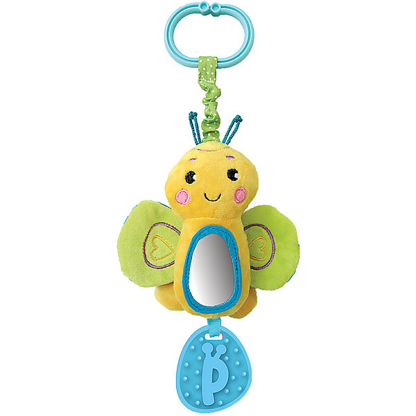 Игрушка-подвеска Жирафики Бабочка, зеленаяИгрушки для новорожденных<br>Характеристики:<br><br>• музыкальная игрушка и погремушка;<br>• прорезыватель в нижней части;<br>• размер: 19х13х3 см;<br>• возраст: от 1 месяца;<br>• материал: пластик, текстиль, резина;<br>• размер упаковки: 38х4х17 см;<br>• вес: 113 грамм;<br>• страна бренда: Россия.<br><br>Яркая подвесная бабочка привлечет внимание малыша и подарит ему много радости. Потянув за колечко, кроха услышит приятную музыку, издаваемую игрушкой.<br><br>Для развития ребенка игрушка дополнена шуршащими  вставками, пищалкой и безопасным зеркальцем.<br><br>Внизу расположен прорезыватель, который поможет малышу справиться с неприятными ощущениями в период появления молочных зубов. Игрушку можно прикрепить к детской кроватке, автокреслу или коляске.<br><br>Подвеску с зеркальцем и звуком Бабочка, зеленая, Жирафики можно купить в нашем интернет-магазине.<br><br>Ширина мм: 170<br>Глубина мм: 40<br>Высота мм: 380<br>Вес г: 113<br>Возраст от месяцев: 1<br>Возраст до месяцев: 2147483647<br>Пол: Унисекс<br>Возраст: Детский<br>SKU: 6885303