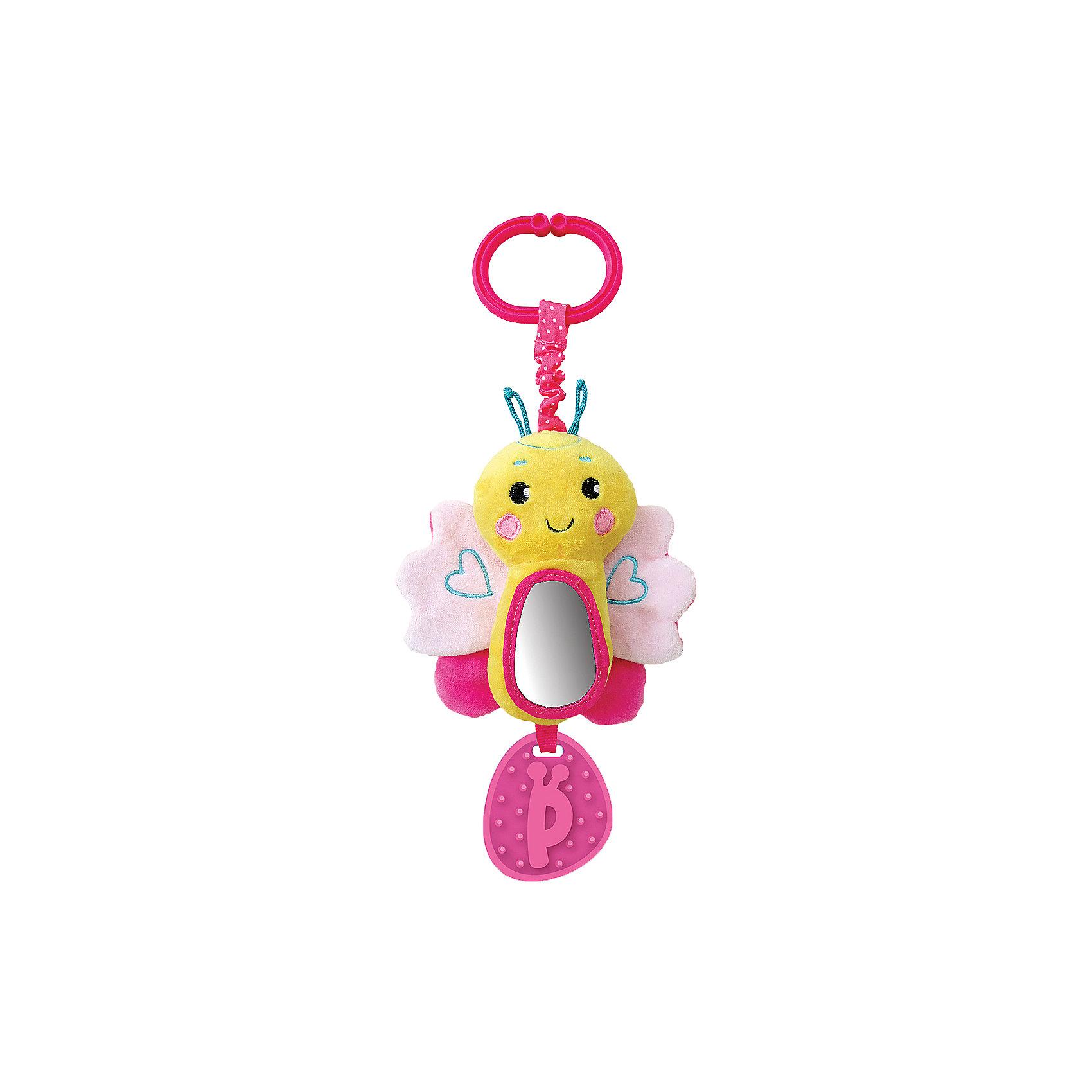 Игрушка-подвеска Жирафики Бабочка, розоваяПодвески<br>Характеристики:<br><br>• музыкальная игрушка и погремушка;<br>• прорезыватель в нижней части;<br>• размер: 19х13х3 см;<br>• возраст: от 1 месяца;<br>• материал: пластик, текстиль, резина;<br>• размер упаковки: 38х4х17 см;<br>• вес: 113 грамм;<br>• страна бренда: Россия.<br><br>Яркая подвесная бабочка привлечет внимание малыша и подарит ему много радости. Потянув за колечко, кроха услышит приятную музыку, издаваемую игрушкой.<br><br>Для развития ребенка игрушка дополнена шуршащими  вставками, пищалкой и безопасным зеркальцем.<br><br>Внизу расположен прорезыватель, который поможет малышу справиться с неприятными ощущениями в период появления молочных зубов. Игрушку можно прикрепить к детской кроватке, автокреслу или коляске.<br><br>Подвеску с зеркальцем и звуком Бабочка, розовую, Жирафики можно купить в нашем интернет-магазине.<br><br>Ширина мм: 170<br>Глубина мм: 40<br>Высота мм: 430<br>Вес г: 133<br>Возраст от месяцев: 1<br>Возраст до месяцев: 2147483647<br>Пол: Женский<br>Возраст: Детский<br>SKU: 6885304