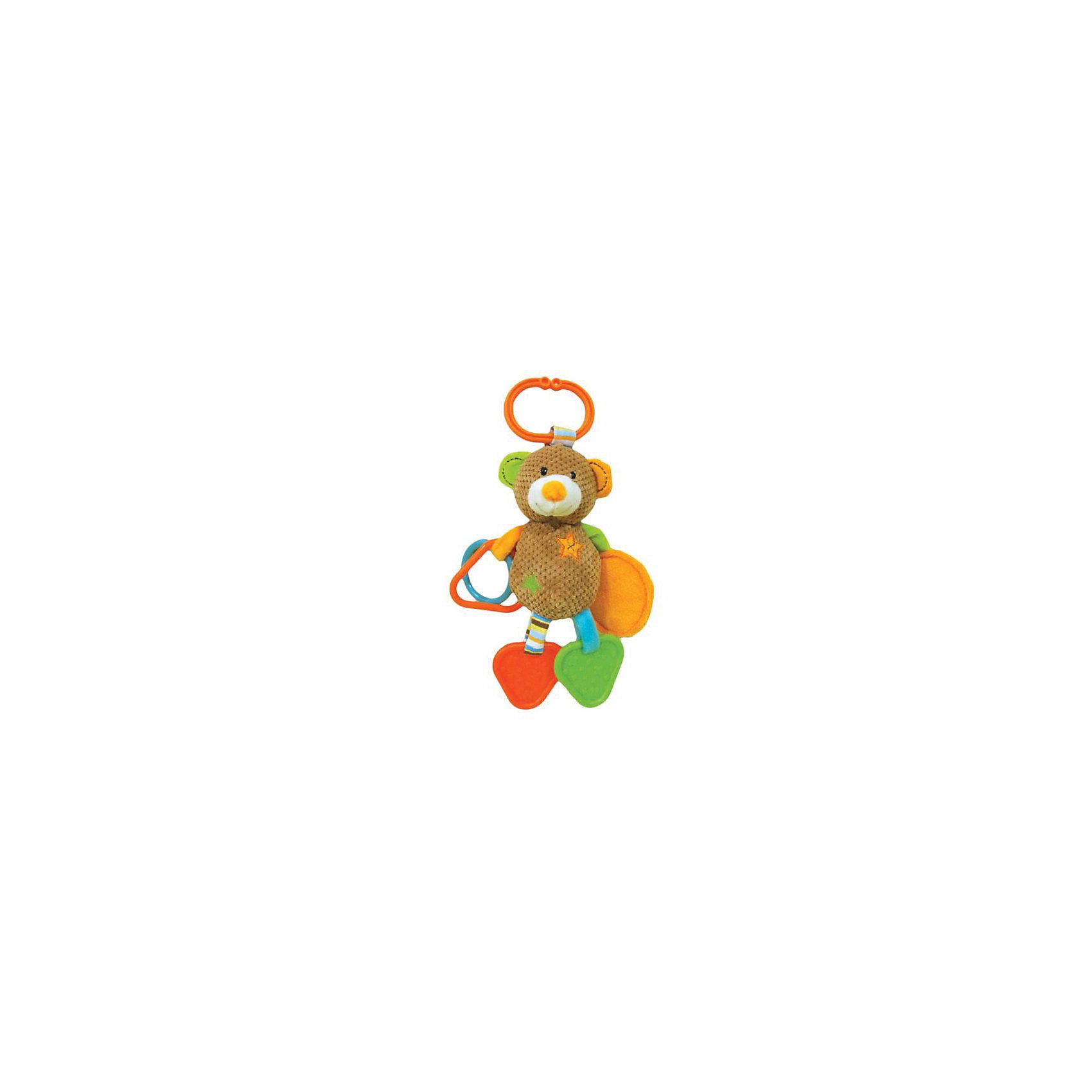 Игрушка-подвескка Жирафики Мишка ВиллиПодвески<br>Характеристики:<br><br>• состав: погремушки, зеркальце, прорезыватель;<br>• удобное подвесное колечко;<br>• материал: пластик, текстиль, наполнитель;<br>• возраст: от 1 месяца;<br>• размер упаковки: 23х5х16 см;<br>• вес: 133 грамма;<br>• страна бренда: Россия.<br><br>Забавный мишка Вилли развлечет малыша дома или во время прогулки. Для удобства использования игрушка оснащена колечком, с помощью которого ее удобно закреплять на коляске, кроватке или автокресле.<br><br>На одной ручке мишки расположены пластиковые элементы, гремящие при тряске, а на другой - безопасное зеркальце. Ножки мишки Вилли состоят из прорезывателей, которые  помогут малышу в период прорезывания зубов.<br><br>Различные фактуры, звуки и цвета способствую развитию мелкой моторики, цветового и звукового восприятия.<br><br>Подвеску с зеркальцем, прорезывателями и погремушками  Мишка Вилли, Жирафики можно купить в нашем интернет-магазине.<br><br>Ширина мм: 160<br>Глубина мм: 50<br>Высота мм: 230<br>Вес г: 133<br>Возраст от месяцев: 1<br>Возраст до месяцев: 2147483647<br>Пол: Унисекс<br>Возраст: Детский<br>SKU: 6885305