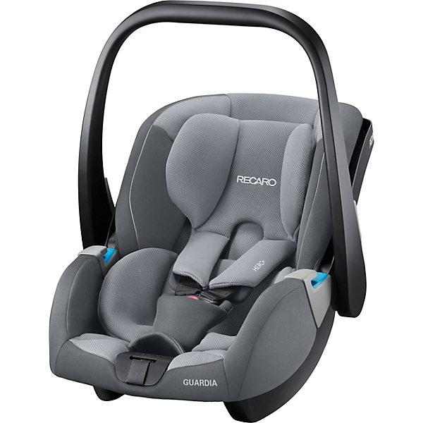 Автокресло Recaro Guardia, 0-13кг., aluminium greyГруппа 0+  (до 13 кг)<br>Характеристики:<br><br>• группа: 0-0+;<br>• возраст ребенка: до 13 кг;<br>• вес ребенка: от рождения до 12 месяцев;<br>• способ крепления: база SmartClick с крепление Isofix или штатные ремни безопасности автомобиля;<br>• дополнительная упор-ножка в пол;<br>• обратите внимание: база SmartClick приобретается отдельно;<br>• защита от боковых ударов;<br>• способ установки: против хода движения автомобиля;<br>• тип ремней безопасности: 5-ти точечные с мягкими накладками;<br>• регулируемая ручка для переноски;<br>• съемные чехлы: стирка при температуре 30 градусов;<br>• вентилируемая вставка;<br>• регулируемый солнцезащитный козырек;<br>• люлька-качалка: специальные полозья для укачивания малыша;<br>• автокресло устанавливается на шасси колясок Recaro с помощью адаптеров;<br>• материал: пластик, полиэстер;<br>• размер автокресла: 75х47х45 см;<br>• вес автокресла: 4,1 кг;<br>• вес в упаковке: 4,5 кг.<br><br>Комплектация:<br><br>• автокресло;<br>• подушечка для новорожденных;<br>• солнцезащитный козырек;<br>• адаптеры;<br>• инструкция. <br><br>Автокресло Recaro Guardia, 0-13 кг, aluminium grey можно купить в нашем интернет-магазине.<br><br>Ширина мм: 660<br>Глубина мм: 440<br>Высота мм: 590<br>Вес г: 4100<br>Возраст от месяцев: 0<br>Возраст до месяцев: 12<br>Пол: Унисекс<br>Возраст: Детский<br>SKU: 6885330