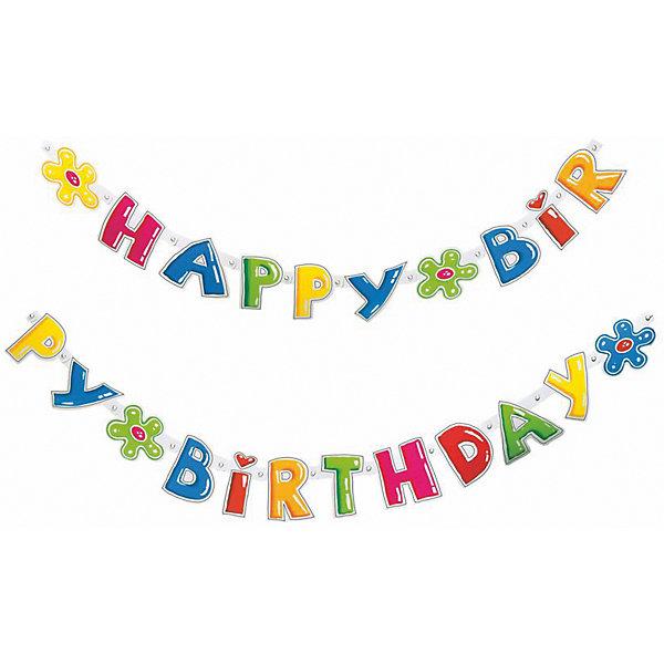 Гирлянда  Happy Birthday, 1.6 мх11см.Баннеры и гирлянды для детской вечеринки<br>Характеристики товара:<br><br>• возраст: от 3 лет<br>• цвет: мульти<br>• материал: бумага<br>• размер упаковки: 17х21х3 см<br>• длина: 1,6 м<br>• вес: 40 г<br>• страна бренда: Германия<br>• страна изготовитель: Германия<br><br>Яркая гирлянда с надписью «Happy Birthday» - это необходимая изюминка в оформлении детского праздника. <br><br>Ею можно украсить стены, окна помещения, а также растянуть по диагонали.<br><br>Изделие произведено из безопасного для детей материала.<br><br>Гирлянду «Happy Birthday», 1.6 мх11см от бренда Herlitz (Херлиц) можно купить в нашем интернет-магазине.<br><br>Ширина мм: 8<br>Глубина мм: 175<br>Высота мм: 210<br>Вес г: 47<br>Возраст от месяцев: 36<br>Возраст до месяцев: 2147483647<br>Пол: Унисекс<br>Возраст: Детский<br>SKU: 6886471
