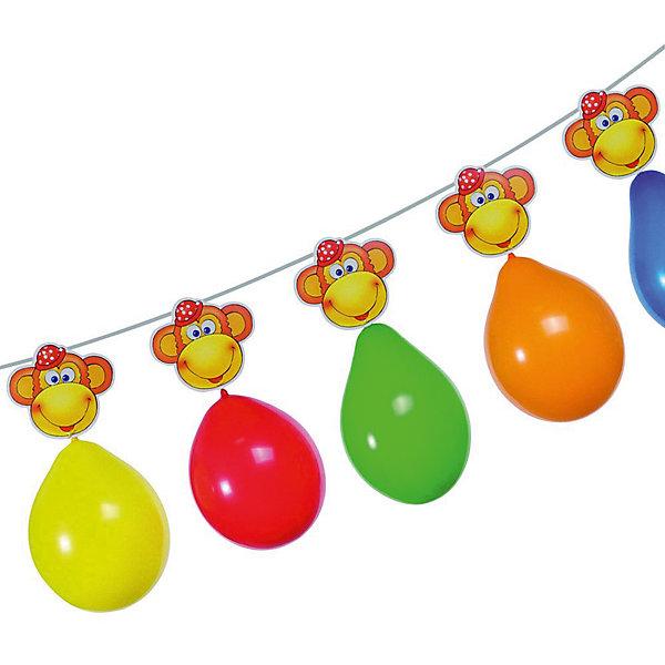 Гирлянда из шаров Обезьянки, 3 м., 6 шаров, блистерБаннеры и гирлянды для детской вечеринки<br>Характеристики товара:<br><br>• возраст: от 3 лет<br>• цвет: мульти<br>• материал: бумага, биоразлагаемый латекс<br>• размер упаковки: 17х21х3 см<br>• длина: 3 м<br>• вес: 70 г<br>• страна бренда: Германия<br>• страна изготовитель: Германия<br><br>Яркая гирлянда с шарами и мордочками обезьянок поможет создать атмосферу праздника и поднять настроение всем гостям. <br><br>Ею можно украсить стены, окна помещения, а также растянуть по диагонали.<br><br>Гирлянду из шаров   «Обезьянки», 3 м., 6 шаров, блистер, от бренда Herlitz (Херлиц) можно купить в нашем интернет-магазине.<br>Ширина мм: 8; Глубина мм: 175; Высота мм: 210; Вес г: 68; Возраст от месяцев: 36; Возраст до месяцев: 2147483647; Пол: Унисекс; Возраст: Детский; SKU: 6886473;
