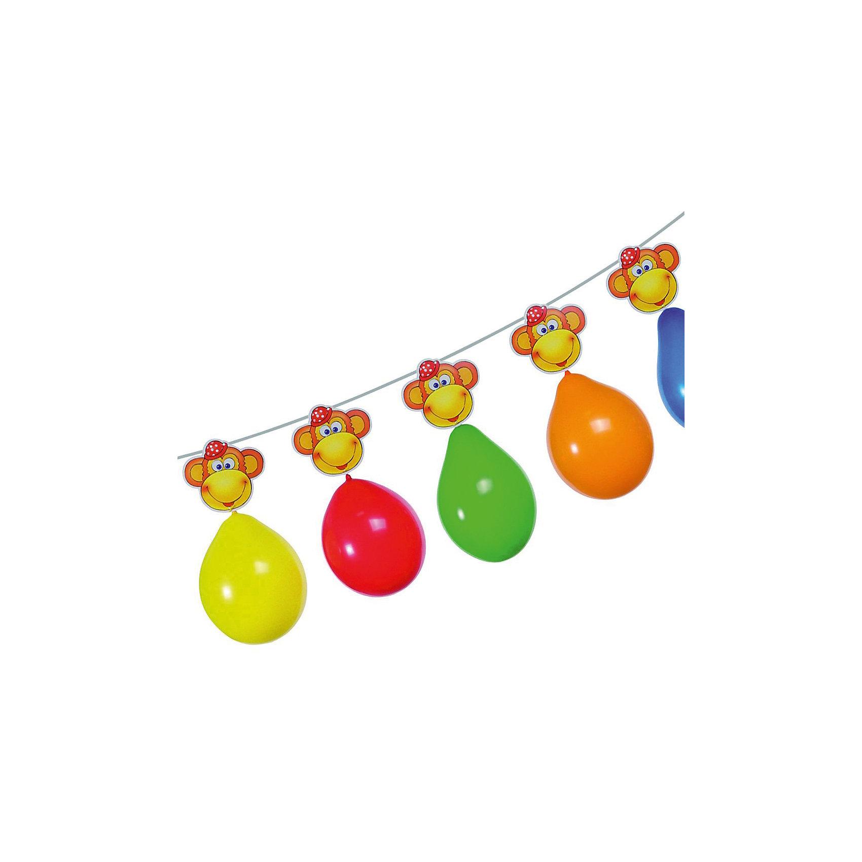 Гирлянда из шаров Обезьянки, 3 м., 6 шаров, блистерБаннеры и гирлянды для детской вечеринки<br>Характеристики товара:<br><br>• возраст: от 3 лет<br>• цвет: мульти<br>• материал: бумага, биоразлагаемый латекс<br>• размер упаковки: 17х21х3 см<br>• длина: 3 м<br>• вес: 70 г<br>• страна бренда: Германия<br>• страна изготовитель: Германия<br><br>Яркая гирлянда с шарами и мордочками обезьянок поможет создать атмосферу праздника и поднять настроение всем гостям. <br><br>Ею можно украсить стены, окна помещения, а также растянуть по диагонали.<br><br>Гирлянду из шаров   «Обезьянки», 3 м., 6 шаров, блистер, от бренда Herlitz (Херлиц) можно купить в нашем интернет-магазине.<br><br>Ширина мм: 8<br>Глубина мм: 175<br>Высота мм: 210<br>Вес г: 68<br>Возраст от месяцев: 36<br>Возраст до месяцев: 2147483647<br>Пол: Унисекс<br>Возраст: Детский<br>SKU: 6886473