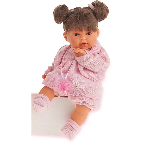 Кукла Лана брюнетка, 27 см, Munecas Antonio JuanКуклы<br>Характеристики товара:<br><br>• возраст: от 3 лет;<br>• материал: винил, текстиль;<br>• в комплекте: кукла, одежда, соска;<br>• тип батареек: 3 батарейки LR44;<br>• наличие батареек: в комплекте;<br>• высота куклы: 27 см;<br>• размер упаковки: 59х29х14,5 см;<br>• вес упаковки: 670 гр.;<br>• страна производитель: Испания.<br><br>Кукла Лана брюнетка Munecas Antonio Juan выглядит как самый настоящий младенец. Она одета в вязаное розовое платье и носочки. У нее мягкие темные волосы, завязанные в хвостики. Кукла умеет плакать. Чтобы успокоить ее, надо дать ей соску. Кукла выполнена из качественного винила, у нее подвижные руки и ноги. Игра с куклой приучит девочку к ответственности, воспитает чувство заботы и любви.<br><br>Куклу Лану брюнетку Munecas Antonio Juan можно приобрести в нашем интернет-магазине.<br><br>Ширина мм: 590<br>Глубина мм: 290<br>Высота мм: 145<br>Вес г: 670<br>Возраст от месяцев: 36<br>Возраст до месяцев: 2147483647<br>Пол: Женский<br>Возраст: Детский<br>SKU: 6886573