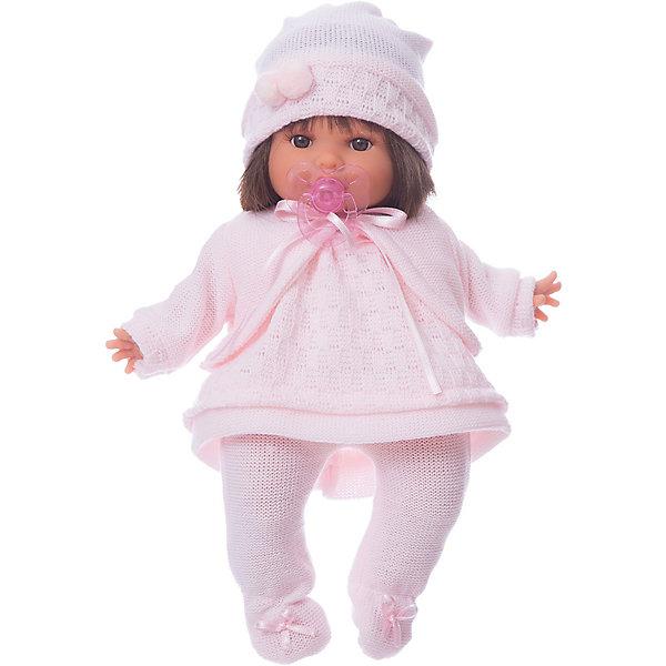 Кукла Кристи в светло-розовом, 30 см, Munecas Antonio JuanБренды кукол<br>Характеристики товара:<br><br>• возраст: от 3 лет;<br>• материал: винил, текстиль;<br>• в комплекте: кукла, одежда, соска;<br>• тип батареек: 3 батарейки LR44;<br>• наличие батареек: в комплекте;<br>• высота куклы: 30 см;<br>• размер упаковки: 35х20х12,5 см;<br>• вес упаковки: 780 гр.;<br>• страна производитель: Испания.<br><br>Кукла Кристи Munecas Antonio Juan выглядит как самый настоящий младенец. Она одета в вязаное розовое платье, шапочку и штанишки. Кукла умеет плакать. Чтобы успокоить ее, надо дать ей соску. Кукла выполнена из качественного винила, у нее подвижные руки и ноги. Игра с куклой приучит девочку к ответственности, воспитает чувство заботы и любви.<br><br>Куклу Кристи в светло-розовом Munecas Antonio Juan можно приобрести в нашем интернет-магазине.<br>Ширина мм: 350; Глубина мм: 200; Высота мм: 125; Вес г: 780; Возраст от месяцев: 36; Возраст до месяцев: 2147483647; Пол: Женский; Возраст: Детский; SKU: 6886574;