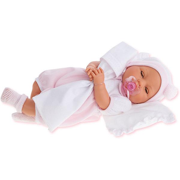 Кукла Габи в розовом, 37 см, Munecas Antonio JuanБренды кукол<br>Характеристики товара:<br><br>• возраст: от 3 лет;<br>• материал: винил, текстиль;<br>• в комплекте: кукла, одежда, соска, подушка;<br>• тип батареек: 3 батарейки LR44;<br>• наличие батареек: в комплекте;<br>• высота куклы: 37 см;<br>• размер упаковки: 44х24,5х12 см;<br>• вес упаковки: 1,02 кг;<br>• страна производитель: Испания.<br><br>Кукла Габи в розовом Munecas Antonio Juan выглядит как самый настоящий младенец. Она одета в розовый комбинезон, вязаные носочки и шапочку. Кукла умеет плакать. Чтобы успокоить ее, надо дать ей соску. Кукла выполнена из качественного винила, у нее подвижные руки и ноги. Игра с куклой приучит девочку к ответственности, воспитает чувство заботы и любви.<br><br>Куклу Габи в розовом Munecas Antonio Juan можно приобрести в нашем интернет-магазине.<br>Ширина мм: 440; Глубина мм: 245; Высота мм: 120; Вес г: 1020; Возраст от месяцев: 36; Возраст до месяцев: 2147483647; Пол: Женский; Возраст: Детский; SKU: 6886575;