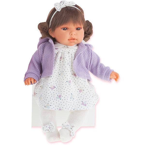 Кукла Лорена в фиолетовом, 37 см, Munecas Antonio JuanКуклы<br>Характеристики товара:<br><br>• возраст: от 3 лет;<br>• материал: винил, текстиль;<br>• в комплекте: кукла, одежда;<br>• тип батареек: 3 батарейки LR44;<br>• наличие батареек: в комплекте;<br>• высота куклы: 37 см;<br>• размер упаковки: 44х24,5х12 см;<br>• вес упаковки: 1,05 кг;<br>• страна производитель: Испания.<br><br>Кукла Лорена в фиолетовом Munecas Antonio Juan выглядит как самый настоящий младенец. Она одета в белое платье, фиолетовую кофточку. У нее темные мягкие волосы, украшенные ободком. Если нажать на животик куклы один раз, она засмеется. Если нажать второй раз — скажет «мама», а третий раз «папа». Кукла выполнена из качественного винила, у нее подвижные руки и ноги. Игра с куклой приучит девочку к ответственности, воспитает чувство заботы и любви.<br><br>Куклу Лорену в фиолетовом Munecas Antonio Juan можно приобрести в нашем интернет-магазине.<br><br>Ширина мм: 440<br>Глубина мм: 245<br>Высота мм: 120<br>Вес г: 1050<br>Возраст от месяцев: 36<br>Возраст до месяцев: 2147483647<br>Пол: Женский<br>Возраст: Детский<br>SKU: 6886576