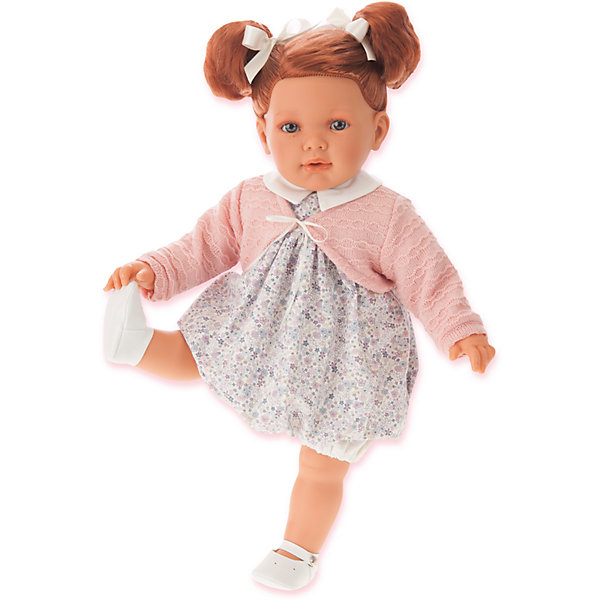 Кукла Аделина рыжая, 55 см, Munecas Antonio JuanБренды кукол<br>Характеристики товара:<br><br>• возраст: от 3 лет;<br>• материал: винил, текстиль;<br>• в комплекте: кукла, одежда;<br>• высота куклы: 55 см;<br>• размер упаковки: 59х29х14,5 см;<br>• вес упаковки: 1,68 кг;<br>• страна производитель: Испания.<br><br>Кукла Аделина рыжая Munecas Antonio Juan выглядит как самый настоящий малыш. Она одета в цветочное платье, розовую кофточку. У Аделины рыжие мягкие волосы, которые можно расчесывать, украшать, заплетать. Кукла выполнена из качественного винила, у нее подвижные руки и ноги. Игра с куклой приучит девочку к ответственности, воспитает чувство заботы и любви.<br><br>Куклу Аделину рыжую Munecas Antonio Juan можно приобрести в нашем интернет-магазине.<br><br>Ширина мм: 590<br>Глубина мм: 290<br>Высота мм: 145<br>Вес г: 1680<br>Возраст от месяцев: 36<br>Возраст до месяцев: 2147483647<br>Пол: Женский<br>Возраст: Детский<br>SKU: 6886580