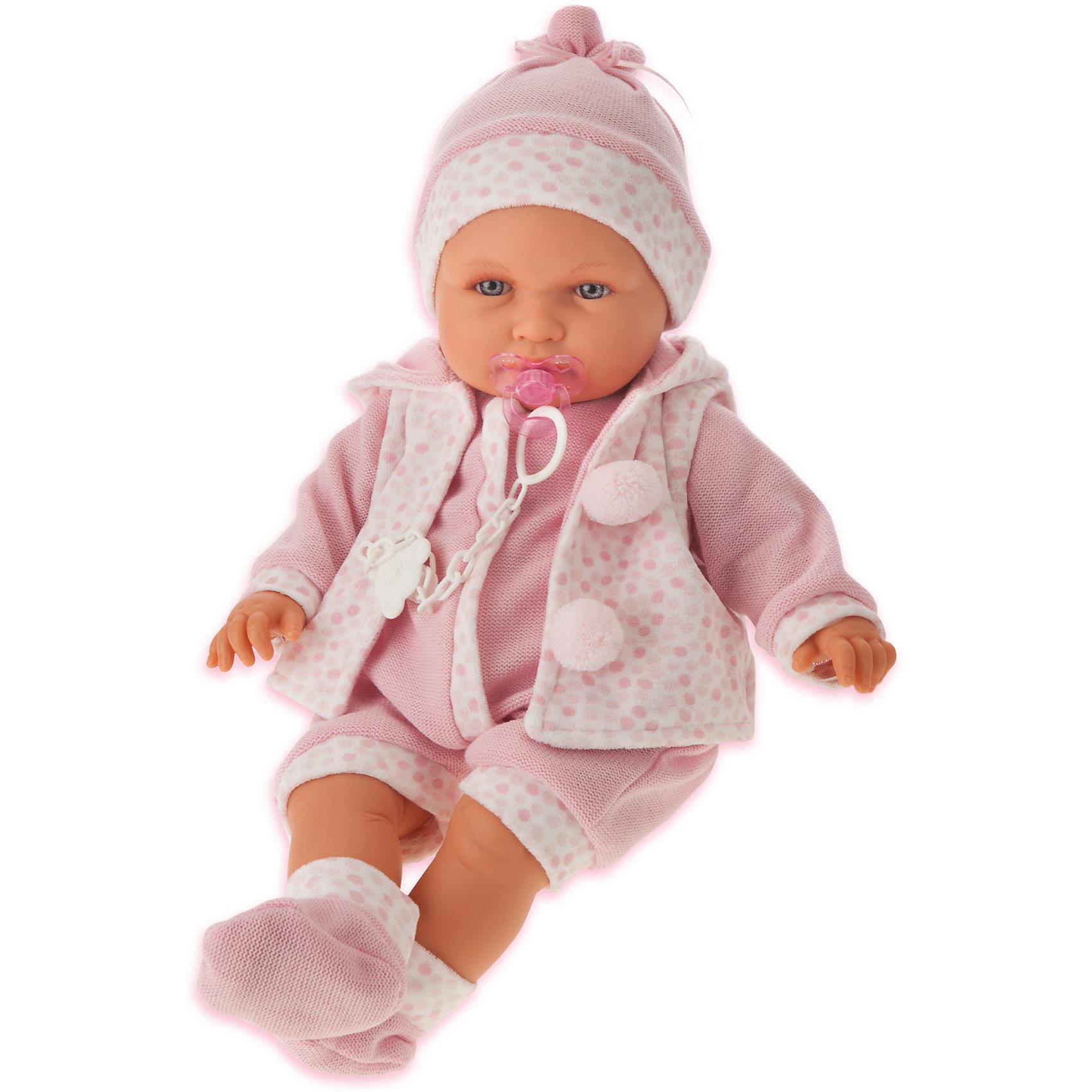 Кукла Бенита в розовом, 55 см, Munecas Antonio JuanБренды кукол<br>Характеристики товара:<br><br>• возраст: от 3 лет;<br>• материал: винил, текстиль;<br>• в комплекте: кукла, одежда;<br>• высота куклы: 55 см;<br>• размер упаковки: 59х29х14,5 см;<br>• вес упаковки: 1,825 кг;<br>• страна производитель: Испания.<br><br>Кукла Бенита в розовом Munecas Antonio Juan выглядит как самый настоящий малыш. Она одета в розовый комбинезон, кофточку и шапочку. Кукла выполнена из качественного винила, у нее подвижные руки и ноги. Игра с куклой приучит девочку к ответственности, воспитает чувство заботы и любви.<br><br>Куклу Бениту в розовом Munecas Antonio Juan можно приобрести в нашем интернет-магазине.<br><br>Ширина мм: 590<br>Глубина мм: 290<br>Высота мм: 145<br>Вес г: 1825<br>Возраст от месяцев: 36<br>Возраст до месяцев: 2147483647<br>Пол: Женский<br>Возраст: Детский<br>SKU: 6886581