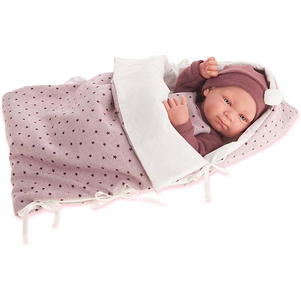 Кукла-младенец Габриэла в фиолетовом, 42 см, Munecas Antonio JuanКуклы<br>Характеристики товара:<br><br>• возраст: от 3 лет;<br>• материал: винил, текстиль;<br>• в комплекте: кукла, одежда, одеяло;<br>• высота куклы: 42 см;<br>• размер упаковки: 50,5х26,5х16 см;<br>• вес упаковки: 1,975 кг;<br>• страна производитель: Испания.<br><br>Кукла-младенец Габриэла в фиолетовом Munecas Antonio Juan выглядит как самый настоящий малыш. Она одета в фиолетовый комбинезон и шапочку. В комплекте уютный конверт, в котором малышка может спать и отдыхать, который также согреет ее в прохладные дни. Кукла выполнена из качественного винила, у нее подвижные руки и ноги. Игра с куклой приучит девочку к ответственности, воспитает чувство заботы и любви.<br><br>Куклу-младенец Габриэла в фиолетовом Munecas Antonio Juan можно приобрести в нашем интернет-магазине.<br><br>Ширина мм: 160<br>Глубина мм: 265<br>Высота мм: 505<br>Вес г: 1975<br>Возраст от месяцев: 36<br>Возраст до месяцев: 2147483647<br>Пол: Женский<br>Возраст: Детский<br>SKU: 6886585