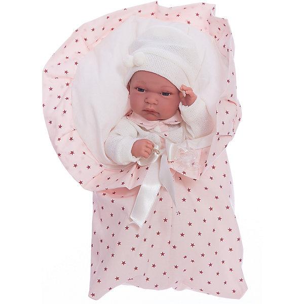 Кукла Розенда в розовом, 33 см, Munecas Antonio JuanБренды кукол<br>Характеристики товара:<br><br>• возраст: от 3 лет;<br>• материал: винил, текстиль;<br>• в комплекте: кукла, одежда, одеяло;<br>• высота куклы: 33 см;<br>• размер упаковки: 44х24,5х12 см;<br>• вес упаковки: 1,2 кг;<br>• страна производитель: Испания.<br><br>Кукла Розенда в розовом Munecas Antonio Juan выглядит как самый настоящий малыш. Она одета в розовый комбинезон и шапочку. В комплекте уютный конверт, в котором малышка может спать и отдыхать, который также согреет ее в прохладные дни. Кукла выполнена из качественного винила, у нее подвижные руки и ноги. Игра с куклой приучит девочку к ответственности, воспитает чувство заботы и любви.<br><br>Куклу Розенду в розовом Munecas Antonio Juan можно приобрести в нашем интернет-магазине.<br>Ширина мм: 440; Глубина мм: 245; Высота мм: 120; Вес г: 1200; Возраст от месяцев: 36; Возраст до месяцев: 2147483647; Пол: Женский; Возраст: Детский; SKU: 6886587;