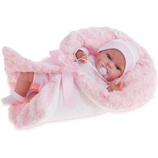 Кукла Вита в розовом, 34 см, Munecas Antonio JuanКуклы<br>Характеристики товара:<br><br>• возраст: от 3 лет;<br>• материал: винил, текстиль;<br>• в комплекте: кукла, одежда, одеяло;<br>• тип батареек: 3 батарейки LR44;<br>• наличие батареек: в комплекте;<br>• высота куклы: 34 см;<br>• размер упаковки: 44х24,5х12 см;<br>• вес упаковки: 1,22 кг;<br>• страна производитель: Испания.<br><br>Кукла Вита в розовом Munecas Antonio Juan выглядит как самый настоящий малыш. Она одета в розовый комбинезон и шапочку. В комплекте уютный конверт, в котором малышка может спать и отдыхать, который также согреет ее в прохладные дни. <br><br>Если нажать на животик куклы один раз, она начнет лепетать. Кукла выполнена из качественного винила, у нее подвижные руки и ноги. Игра с куклой приучит девочку к ответственности, воспитает чувство заботы и любви.<br><br>Куклу Виту в розовом Munecas Antonio Juan можно приобрести в нашем интернет-магазине.<br><br>Ширина мм: 440<br>Глубина мм: 245<br>Высота мм: 120<br>Вес г: 1220<br>Возраст от месяцев: 36<br>Возраст до месяцев: 2147483647<br>Пол: Женский<br>Возраст: Детский<br>SKU: 6886589