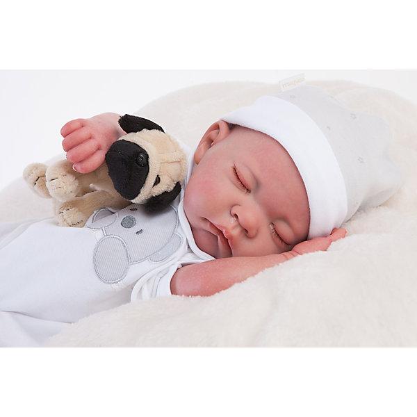Кукла Реборн младенец Рамон, спящий, 40см, Munecas Antonio JuanБренды кукол<br>Характеристики товара:<br><br>• возраст: от 3 лет;<br>• материал: винил, текстиль;<br>• в комплекте: кукла, одежда, мягкая игрушка;<br>• высота куклы: 40 см;<br>• размер упаковки: 55х28х20 см;<br>• вес упаковки: 3,65 кг;<br>• страна производитель: Испания.<br><br>Кукла Реборн младенец Рамон Munecas Antonio Juan выглядит как самый настоящий малыш. Рамон одет в комбинезончик с изображением мордочки, а в руках держит мягкую игрушку. Куклы серии Реборн отличаются проработкой деталей на младенцах. У них выразительные глазки с ресничками, мягкая кожа, на ручках даже видны отросшие ноготки. Кукла выполнена из качественного винила с бархатистым покрытием. Игра с куклой приучит девочку к ответственности, воспитает чувство заботы и любви.<br><br>Куклу Реборн младенец Рамон Munecas Antonio Juan можно приобрести в нашем интернет-магазине.<br><br>Ширина мм: 200<br>Глубина мм: 280<br>Высота мм: 550<br>Вес г: 3650<br>Возраст от месяцев: 36<br>Возраст до месяцев: 2147483647<br>Пол: Женский<br>Возраст: Детский<br>SKU: 6886592