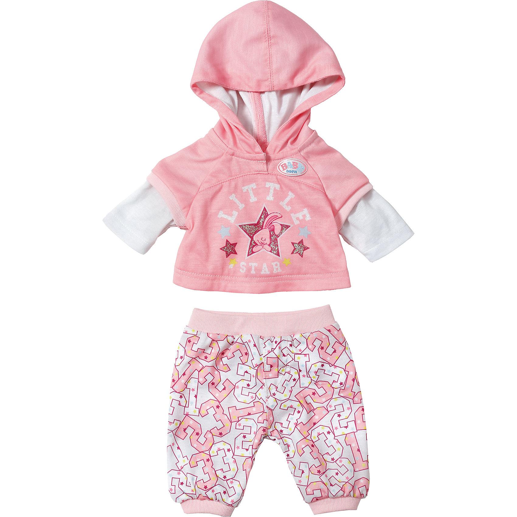 Одежда для спорта Little Star, BABY bornКукольная одежда и аксессуары<br>Характеристики товара:<br><br>• возраст: от 3 лет;<br>• материал: текстиль;<br>• в комплекте: шорты, кофта;<br>• размер упаковки: 22х19х2 см;<br>• вес упаковки: 105 гр.;<br>• страна производитель: Китай.<br><br>Одежда для спорта Little Star Baby Born дополнит гардероб любимой куколки Baby Born и сделает ее стильной во время занятий спортом. Комплект состоит из розовых шортиков на резинке и толстовки с капюшоном, украшенной ярким рисунком. Одежда изготовлена из качественного мягкого материала.<br><br>Одежду для спорта Little Star Baby Born можно приобрести в нашем интернет-магазине.<br><br>Ширина мм: 120<br>Глубина мм: 340<br>Высота мм: 220<br>Вес г: 133<br>Возраст от месяцев: 36<br>Возраст до месяцев: 2147483647<br>Пол: Женский<br>Возраст: Детский<br>SKU: 6886628