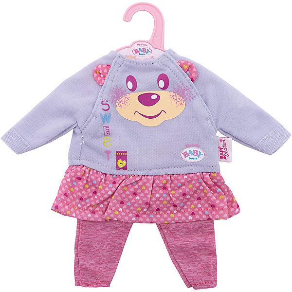 Комплект одежды для дома, 32 см, My Little BABY born, серо-розовыйОдежда для кукол<br>Характеристики товара:<br><br>• возраст: от 3 лет;<br>• материал: текстиль;<br>• в комплекте: леггинсы, кофта;<br>• размер упаковки: 29,2х28х1,2 см;<br>• вес упаковки: 45 гр.;<br>• страна производитель: Китай.<br><br>Комплект одежды для дома My Little Baby Born серо-розовый подойдет для ношения дома. Комплект подходит для кукол до 32 см. Он состоит из розовых леггинсов и футболочки с ярким рисунком. Одежда изготовлена из качественного мягкого материала.<br><br>Комплект одежды для дома My Little Baby Born серо-розовый можно приобрести в нашем интернет-магазине.<br><br>Ширина мм: 127<br>Глубина мм: 292<br>Высота мм: 279<br>Вес г: 72<br>Возраст от месяцев: 36<br>Возраст до месяцев: 2147483647<br>Пол: Женский<br>Возраст: Детский<br>SKU: 6886629