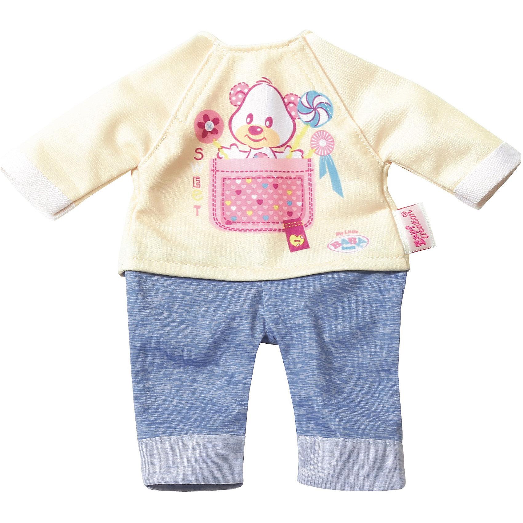 Комплект одежды для дома, 32 см, My Little BABY born, бежево-голубойКукольная одежда и аксессуары<br>Характеристики товара:<br><br>• возраст: от 3 лет;<br>• материал: текстиль;<br>• в комплекте: леггинсы, кофта;<br>• размер упаковки: 29,2х28х1,2 см;<br>• вес упаковки: 45 гр.;<br>• страна производитель: Китай.<br><br>Комплект одежды для дома My Little Baby Born бежево-голубой подойдет для ношения дома. Комплект подходит для кукол до 32 см. Он состоит из голубых леггинсов и бежевой футболочки с ярким рисунком. Одежда изготовлена из качественного мягкого материала.<br><br>Комплект одежды для дома My Little Baby Born бежево-голубой можно приобрести в нашем интернет-магазине.<br><br>Ширина мм: 127<br>Глубина мм: 292<br>Высота мм: 279<br>Вес г: 72<br>Возраст от месяцев: 36<br>Возраст до месяцев: 2147483647<br>Пол: Женский<br>Возраст: Детский<br>SKU: 6886630