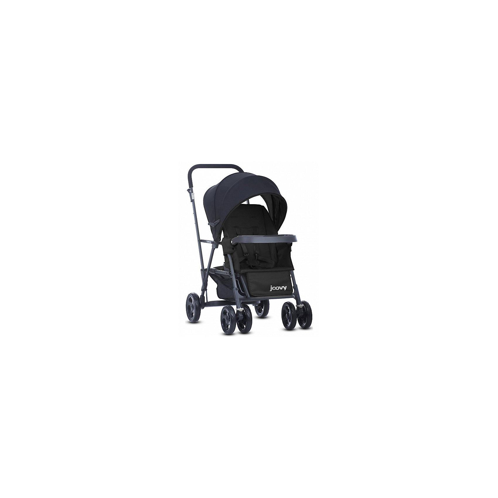 Прогулочная коляска Caboose Graphite, Joovy, черныйПрогулочные коляски<br>Joovy Caboose (Джуви Кабуз) одна из самых компактных и маневренных колясок в своей категории Коляска для двойни и погодок. Переднее сиденье предназначено для ребенка от 3 месяцев, заднее сиденье-скамеечка от 2,5 лет. Для использования коляски с двумя детьми младше 2,5 лет необходимо приобрести дополнительное сиденье. Амортизируемая подвеска на всех колесах придает коляске мягкий ход во время движения. Для старшего ребенка предусмотрена платформа для езды стоя. Идеальное распределение веса позволит вам без труда преодолевать бордюры и с комфортом совершать прогулки по городу. С помощью универсального адаптера, входящего в комплектацию, на переднее сиденье можно установить любое автокресло 0+.<br><br>Ширина мм: 500<br>Глубина мм: 260<br>Высота мм: 900<br>Вес г: 13500<br>Возраст от месяцев: 0<br>Возраст до месяцев: 36<br>Пол: Унисекс<br>Возраст: Детский<br>SKU: 6887315