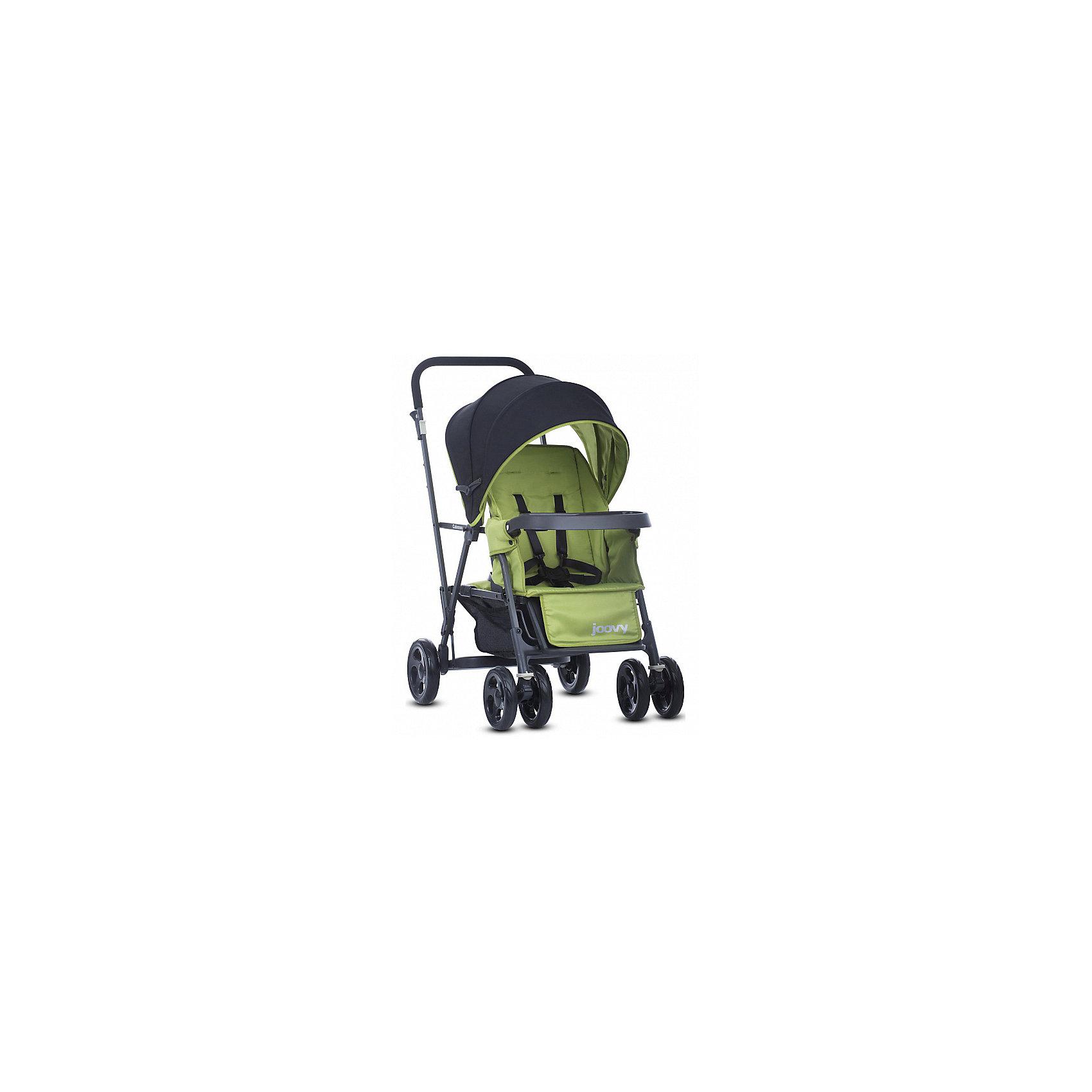 Прогулочная коляска Caboose Graphite, Joovy, зеленыйПрогулочные коляски<br>Joovy Caboose (Джуви Кабуз) одна из самых компактных и маневренных колясок в своей категории Коляска для двойни и погодок. Переднее сиденье предназначено для ребенка от 3 месяцев, заднее сиденье-скамеечка от 2,5 лет. Для использования коляски с двумя детьми младше 2,5 лет необходимо приобрести дополнительное сиденье. Амортизируемая подвеска на всех колесах придает коляске мягкий ход во время движения. Для старшего ребенка предусмотрена платформа для езды стоя. Идеальное распределение веса позволит вам без труда преодолевать бордюры и с комфортом совершать прогулки по городу. С помощью универсального адаптера, входящего в комплектацию, на переднее сиденье можно установить любое автокресло 0+.<br><br>Ширина мм: 500<br>Глубина мм: 260<br>Высота мм: 900<br>Вес г: 13500<br>Возраст от месяцев: 0<br>Возраст до месяцев: 36<br>Пол: Унисекс<br>Возраст: Детский<br>SKU: 6887316