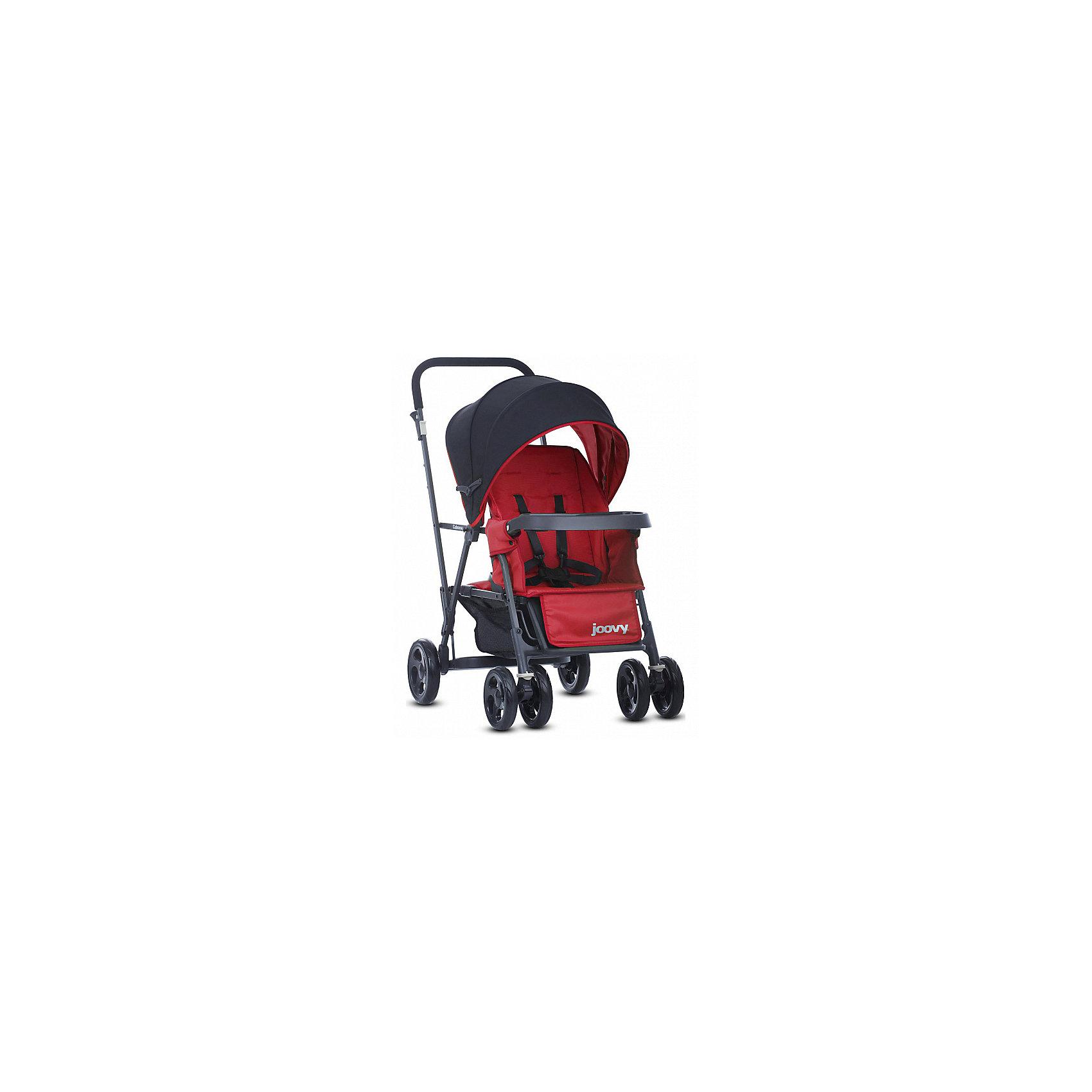Прогулочная коляска Caboose Graphite, Joovy, красныйПрогулочные коляски<br>Joovy Caboose (Джуви Кабуз) одна из самых компактных и маневренных колясок в своей категории Коляска для двойни и погодок. Переднее сиденье предназначено для ребенка от 3 месяцев, заднее сиденье-скамеечка от 2,5 лет. Для использования коляски с двумя детьми младше 2,5 лет необходимо приобрести дополнительное сиденье. Амортизируемая подвеска на всех колесах придает коляске мягкий ход во время движения. Для старшего ребенка предусмотрена платформа для езды стоя. Идеальное распределение веса позволит вам без труда преодолевать бордюры и с комфортом совершать прогулки по городу. С помощью универсального адаптера, входящего в комплектацию, на переднее сиденье можно установить любое автокресло 0+.<br><br>Ширина мм: 500<br>Глубина мм: 260<br>Высота мм: 900<br>Вес г: 13500<br>Возраст от месяцев: 0<br>Возраст до месяцев: 36<br>Пол: Унисекс<br>Возраст: Детский<br>SKU: 6887317