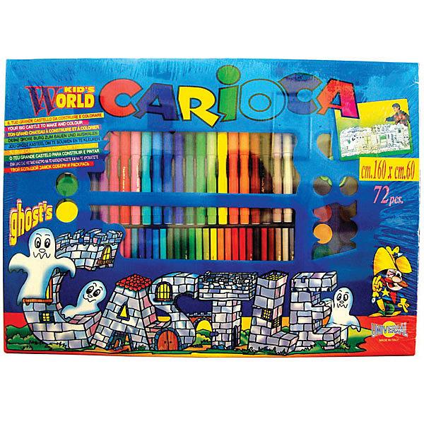 CARIOCA Набор для рисования CARIOCA CASTLE, 75 предметовФломастеры<br>В наборе 75 предметов: 2 трафарета для раскрашивания размером  60х160 см, 48 суперсмывааемых  фломастеров, 12 восковых карандашей, 12 акварельных красок, кисточка. В картонной коробке с ручкой<br><br>Ширина мм: 600<br>Глубина мм: 600<br>Высота мм: 30<br>Вес г: 875<br>Возраст от месяцев: 36<br>Возраст до месяцев: 168<br>Пол: Унисекс<br>Возраст: Детский<br>SKU: 6888677
