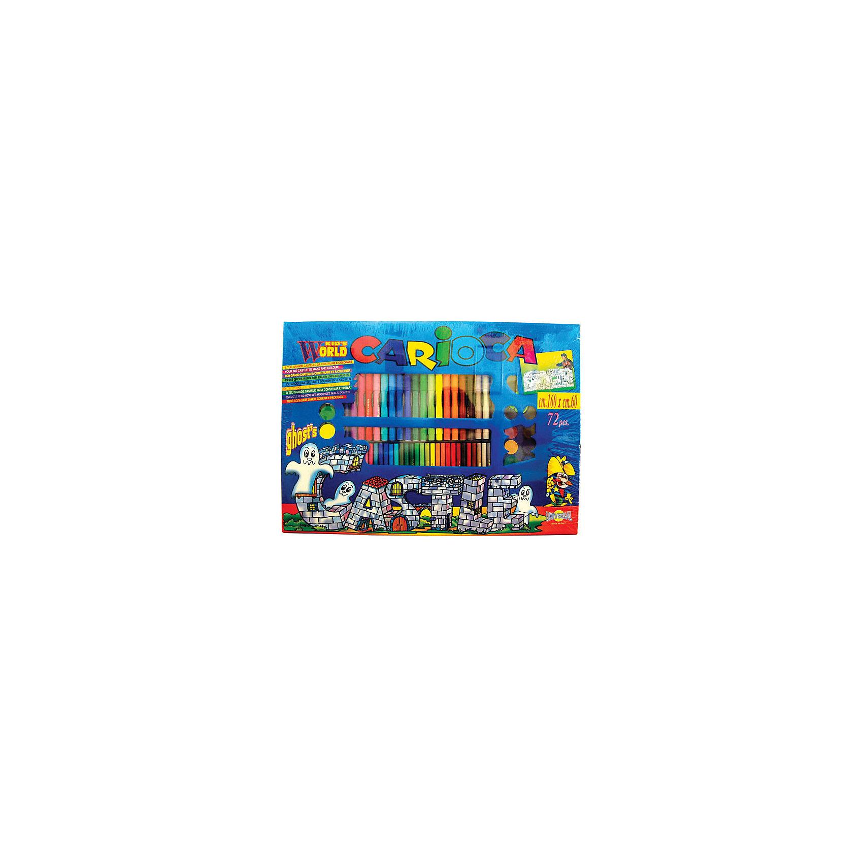 CARIOCA Набор для рисования CARIOCA CASTLE, 75 предметовПисьменные принадлежности<br>В наборе 75 предметов: 2 трафарета для раскрашивания размером  60х160 см, 48 суперсмывааемых  фломастеров, 12 восковых карандашей, 12 акварельных красок, кисточка. В картонной коробке с ручкой<br><br>Ширина мм: 600<br>Глубина мм: 600<br>Высота мм: 30<br>Вес г: 875<br>Возраст от месяцев: 36<br>Возраст до месяцев: 168<br>Пол: Унисекс<br>Возраст: Детский<br>SKU: 6888677