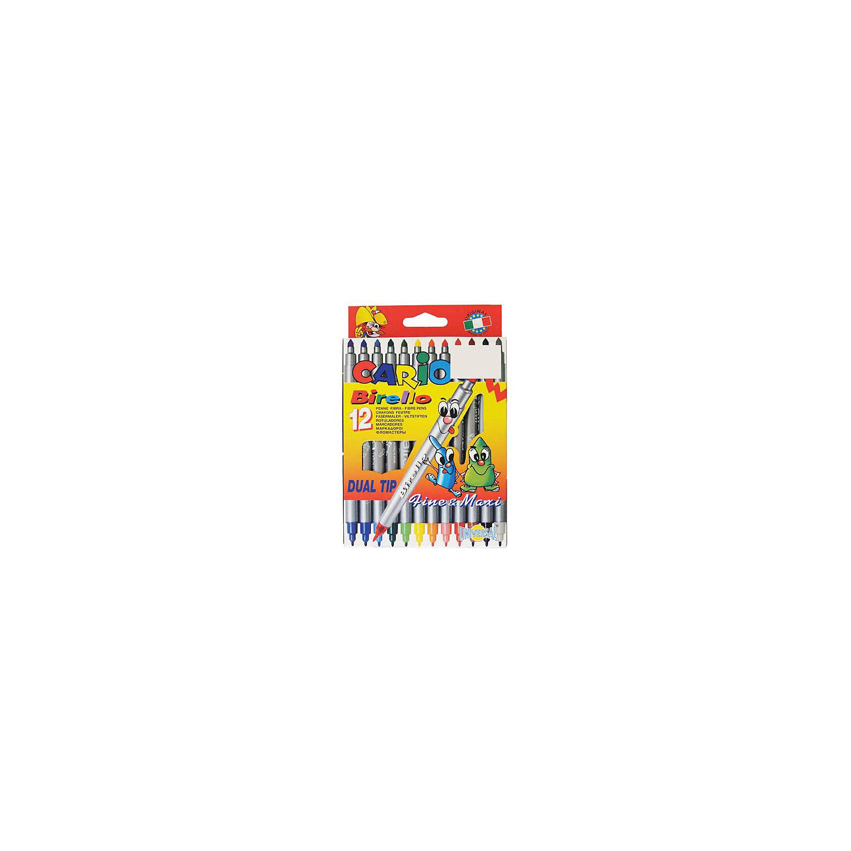 CARIOCA Набор фломастеров BIRELLO двустороннихФломастеры<br>Двухсторонние фломастеры с прекрасно смываемыми простой водой чернилами, с безопасными вентилируемыми колпачками. С одной стороны пишут тонко, диметр пишущего узла 1 мм,с другой - толсто, даметр 4 мм. 12 цветов. В картонной кобке с европодвесом<br><br>Ширина мм: 190<br>Глубина мм: 160<br>Высота мм: 10<br>Вес г: 131<br>Возраст от месяцев: 36<br>Возраст до месяцев: 168<br>Пол: Унисекс<br>Возраст: Детский<br>SKU: 6888681