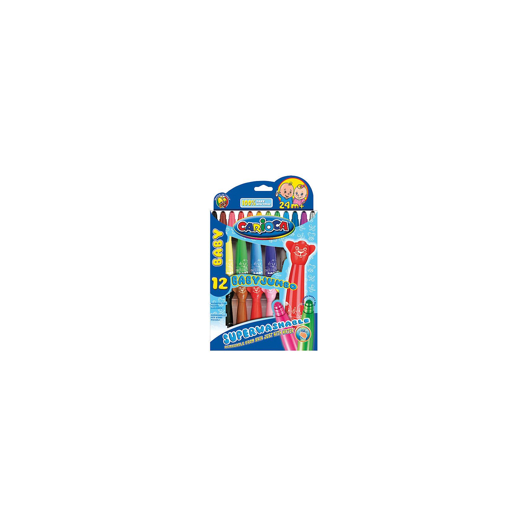 CARIOCA Набор фломастеров BABY JUMBOФломастеры<br>Детские фломастеры с прекрасно смываемыми простой водой чернилами, стержень не вдавливается, утолщенный корпус удобно держать в маленькой ручке. Вентилируемый безопасный фигурный колпачок. Диаметр наконечника 3 мм. 12 цветов. Для детей от года<br><br>Ширина мм: 190<br>Глубина мм: 160<br>Высота мм: 20<br>Вес г: 204<br>Возраст от месяцев: 36<br>Возраст до месяцев: 168<br>Пол: Унисекс<br>Возраст: Детский<br>SKU: 6888682