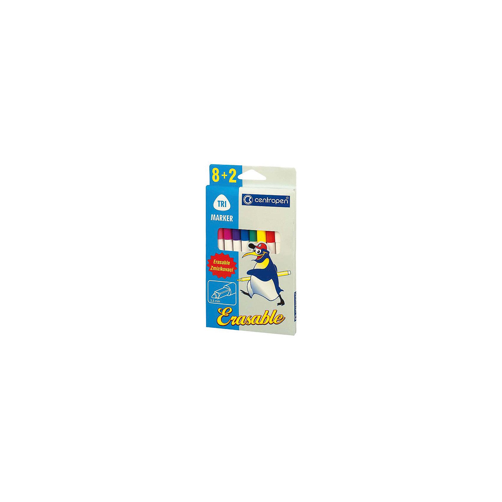 CENTROPEN Набор фломастеровРисование<br>Треугольный корпус в месте захвата, цветной вентилируемый колпачок. В комплекте 8 цветных фломастеров и 2 фломастера-стирателя, поглощающие чернила. Волокнистое острие диаметром 3,5 мм. 8 цветов+2 поглотителя. В блистерной коробке с европодвесом<br><br>Ширина мм: 190<br>Глубина мм: 100<br>Высота мм: 10<br>Вес г: 87<br>Возраст от месяцев: 36<br>Возраст до месяцев: 168<br>Пол: Унисекс<br>Возраст: Детский<br>SKU: 6888685
