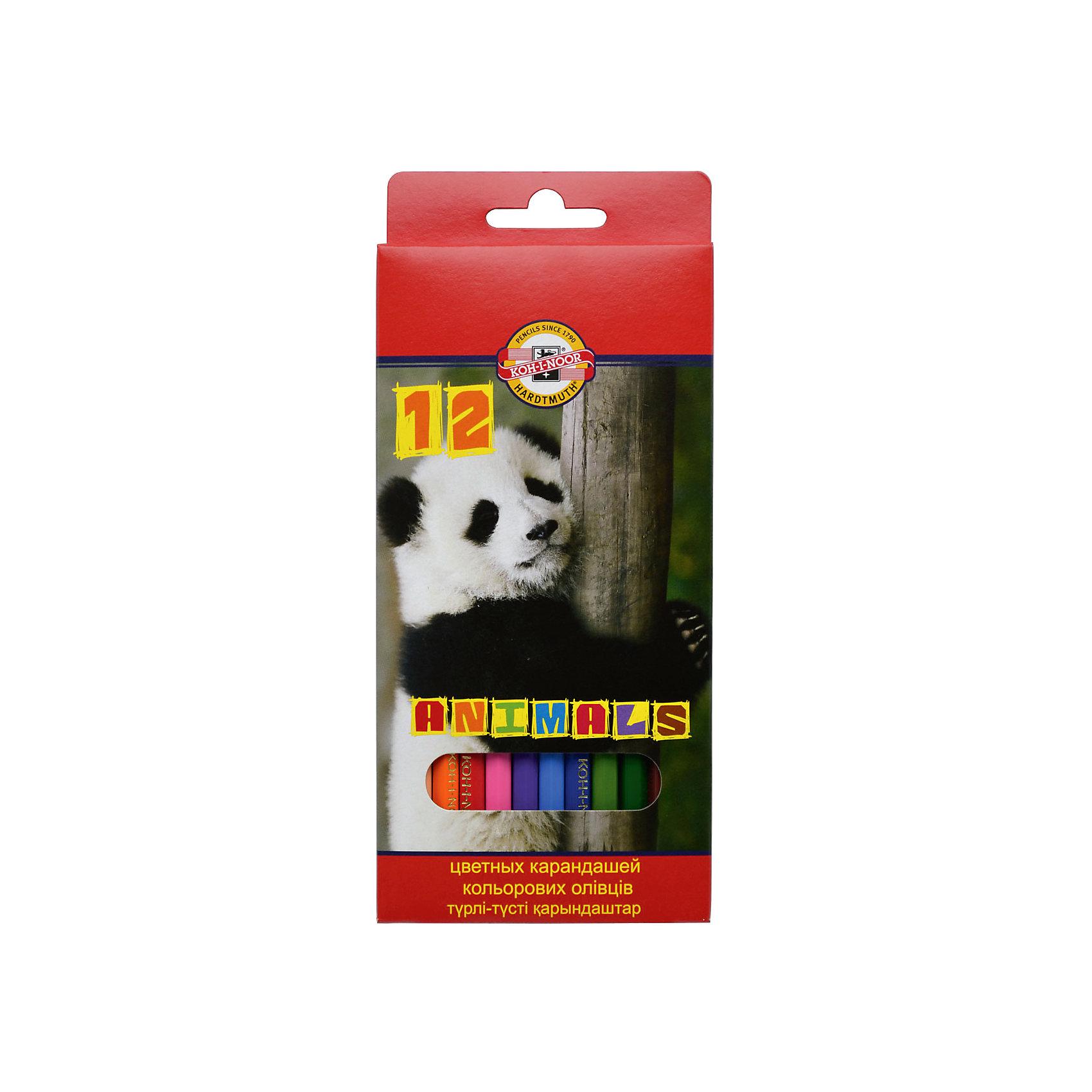 KOH-I-NOOR Набор карандашей цветных ЖИВОТНЫЕ, 12 цвРисование<br>Школьные карандаши, шестигранный корпус, заточенные. Длина стержня - 175 мм. Диаметр грифеля - 3 мм. 12 цветов. В картонной коробке с европодвесом<br><br>Ширина мм: 190<br>Глубина мм: 160<br>Высота мм: 10<br>Вес г: 75<br>Возраст от месяцев: 36<br>Возраст до месяцев: 168<br>Пол: Унисекс<br>Возраст: Детский<br>SKU: 6888693