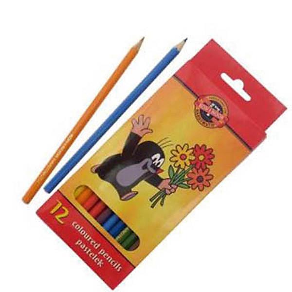 KOH-I-NOOR Набор карандашей цветных КРОТ, 12 цвЦветные<br>Красочная упаковка.  Шестигранные карандаши, заточенные. Длина стержня - 175 мм. Диаметр грифеля - 3,2 мм. 12 цветов. В картонной коробке  с европодвесом.<br><br>Ширина мм: 190<br>Глубина мм: 160<br>Высота мм: 10<br>Вес г: 81<br>Возраст от месяцев: 36<br>Возраст до месяцев: 168<br>Пол: Унисекс<br>Возраст: Детский<br>SKU: 6888696