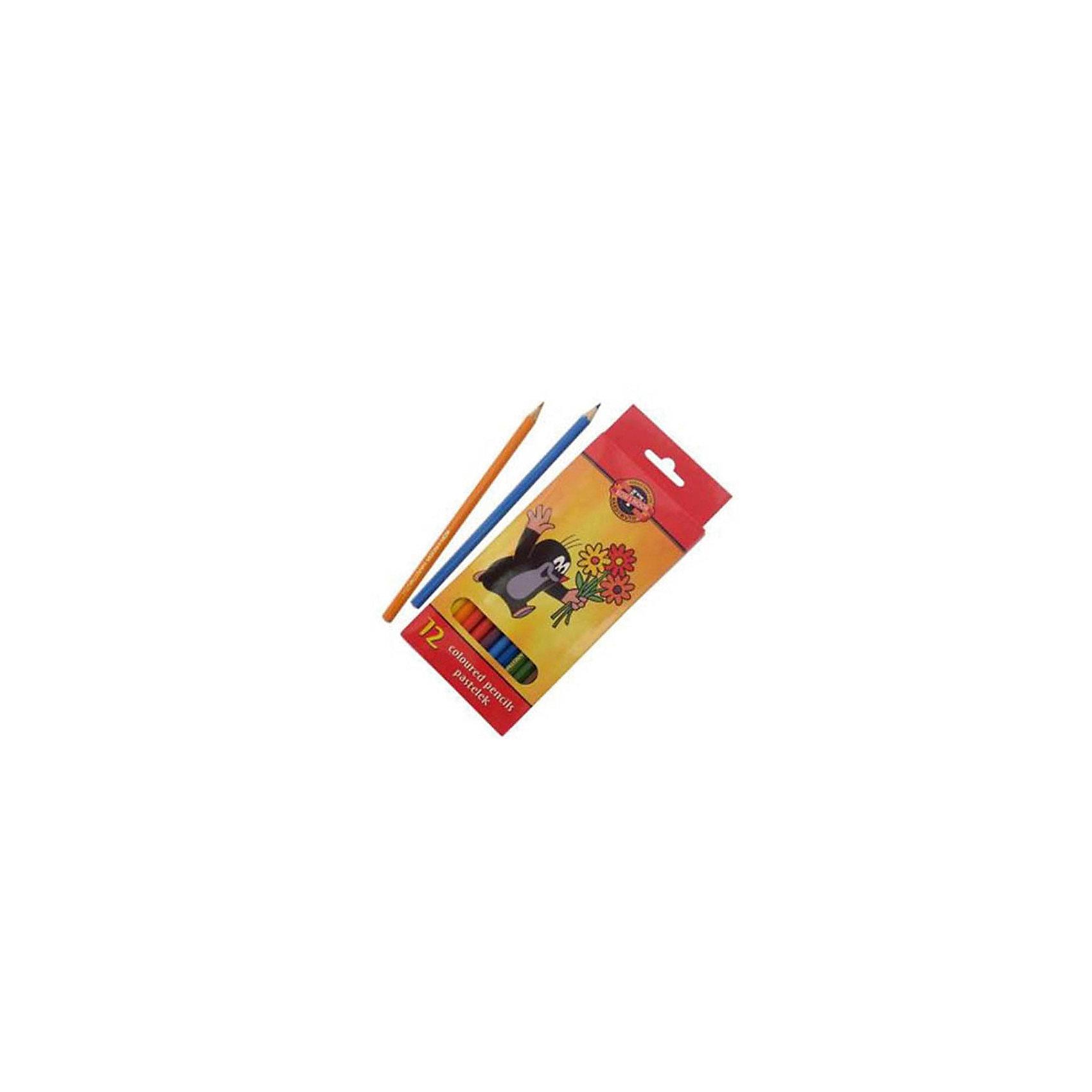 KOH-I-NOOR Набор карандашей цветных КРОТ, 12 цвПисьменные принадлежности<br>Красочная упаковка.  Шестигранные карандаши, заточенные. Длина стержня - 175 мм. Диаметр грифеля - 3,2 мм. 12 цветов. В картонной коробке  с европодвесом.<br><br>Ширина мм: 190<br>Глубина мм: 160<br>Высота мм: 10<br>Вес г: 81<br>Возраст от месяцев: 36<br>Возраст до месяцев: 168<br>Пол: Унисекс<br>Возраст: Детский<br>SKU: 6888696