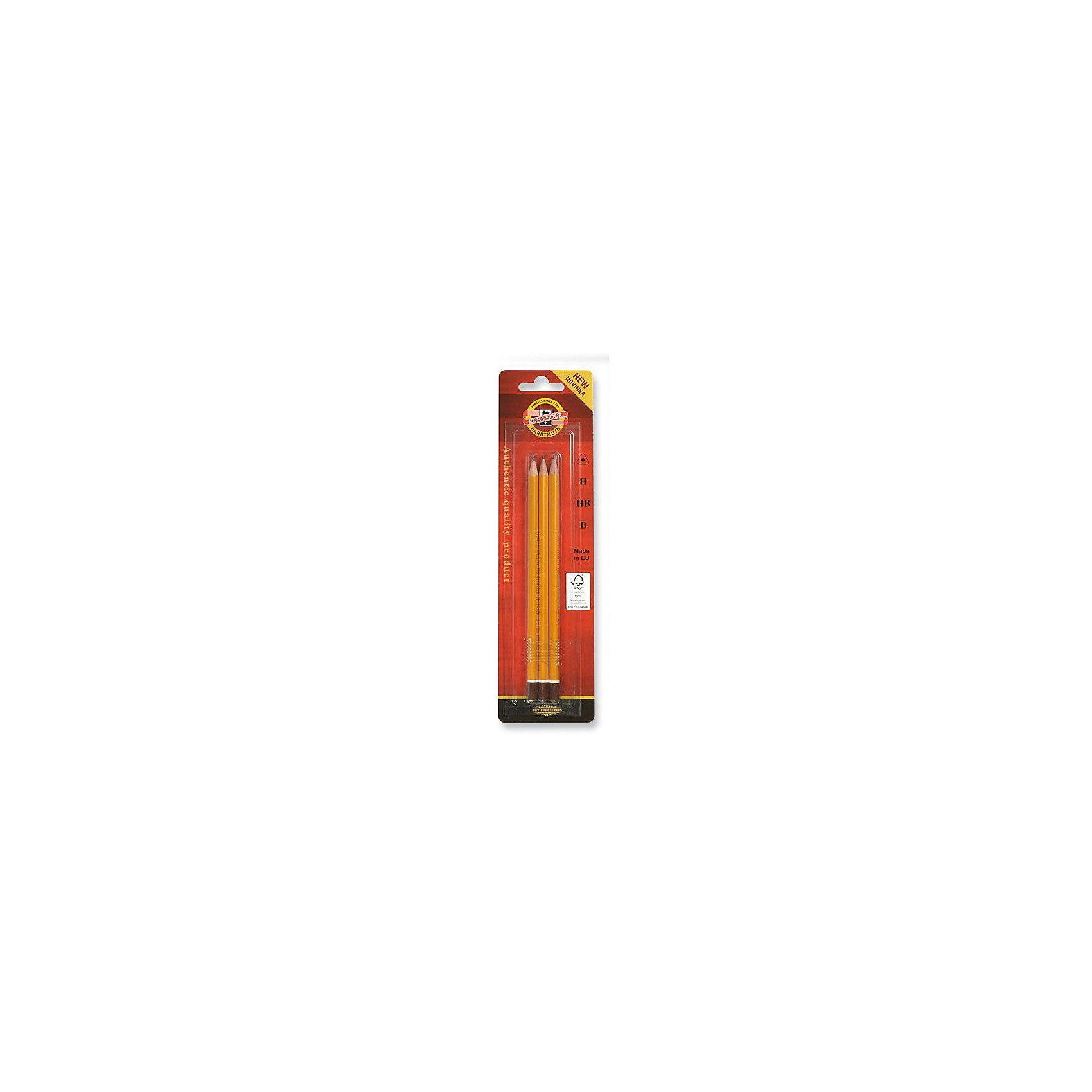 KOH-I-NOOR Набор карандашей чернографитных, 3 штРисование<br>Заточенный чернографитный  карандаш. Трехгранный корпус желтого цвета, торцевая часть выпуклая, окрашена в коричневый цвет с белым ободком. Диаметр грифеля - 2мм. Длина стержня - 175мм. 3 штуки (твердость В, Н, НВ)<br><br>Ширина мм: 200<br>Глубина мм: 70<br>Высота мм: 10<br>Вес г: 39<br>Возраст от месяцев: 36<br>Возраст до месяцев: 168<br>Пол: Унисекс<br>Возраст: Детский<br>SKU: 6888697