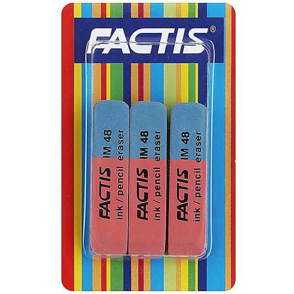 FACTIS Ластики комбинированные, для грифеля и чернил, из натурального каучука, 3 штЧертежные принадлежности<br>Ластики FACTIS комбинированные, для грифеля и чернил, из натурального каучука, 3 шт., блистер<br>Ширина мм: 50; Глубина мм: 50; Высота мм: 15; Вес г: 35; Возраст от месяцев: 36; Возраст до месяцев: 168; Пол: Унисекс; Возраст: Детский; SKU: 6888703;