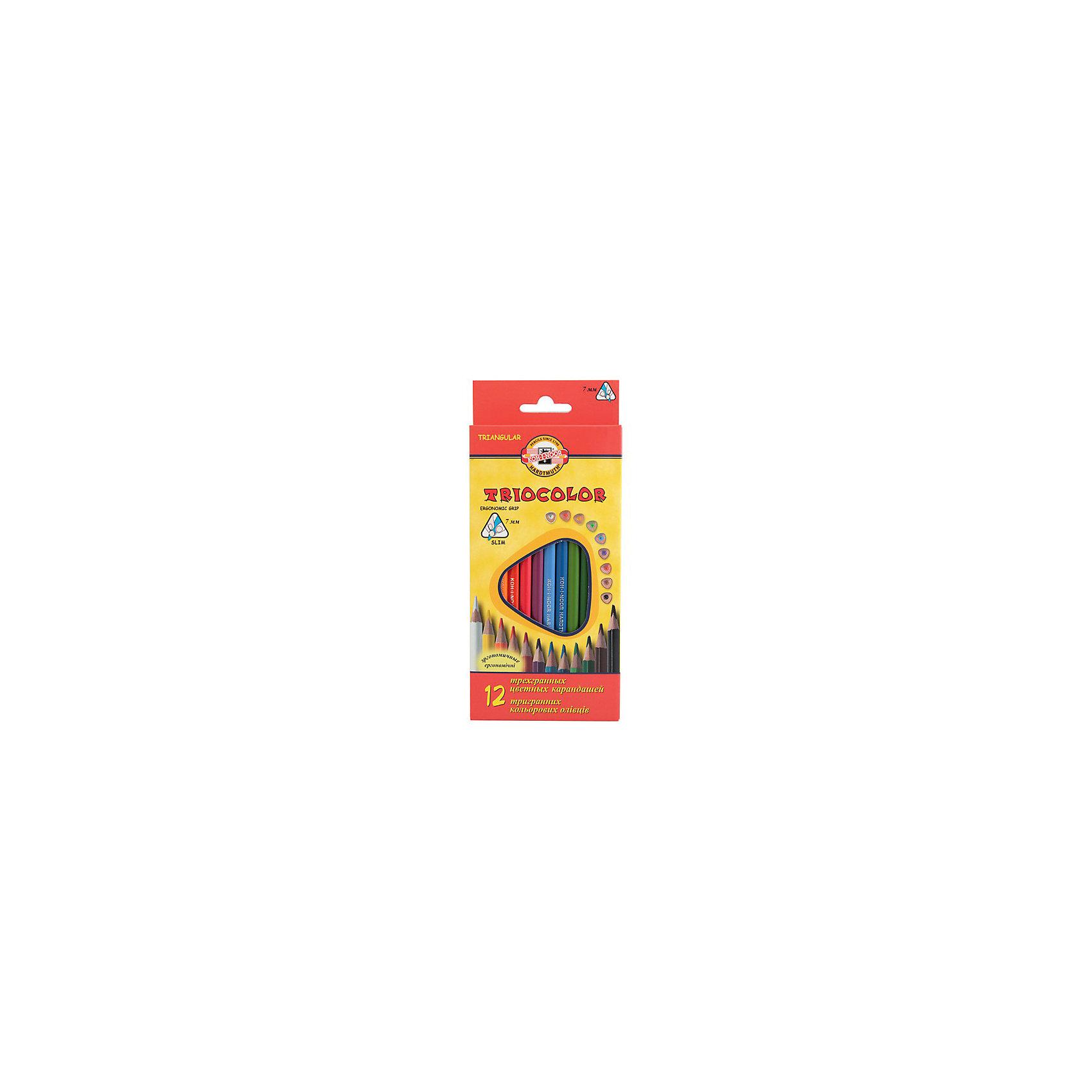 KOH-I-NOOR Набор карандашей цветных TRIOCOLOR трехгранных, 12 цвПисьменные принадлежности<br>Трехгранная эргономичная форма захвата. Яркие,насыщенные цвета. Грифель устойчив к механическим деформациям,легко затачивается. Длина стержня - 175 мм. Диаметр грифеля - 3,2 мм. 12 цветов. В картонной коробке с европодвесом<br><br>Ширина мм: 200<br>Глубина мм: 84<br>Высота мм: 10<br>Вес г: 91<br>Возраст от месяцев: 36<br>Возраст до месяцев: 168<br>Пол: Унисекс<br>Возраст: Детский<br>SKU: 6888741