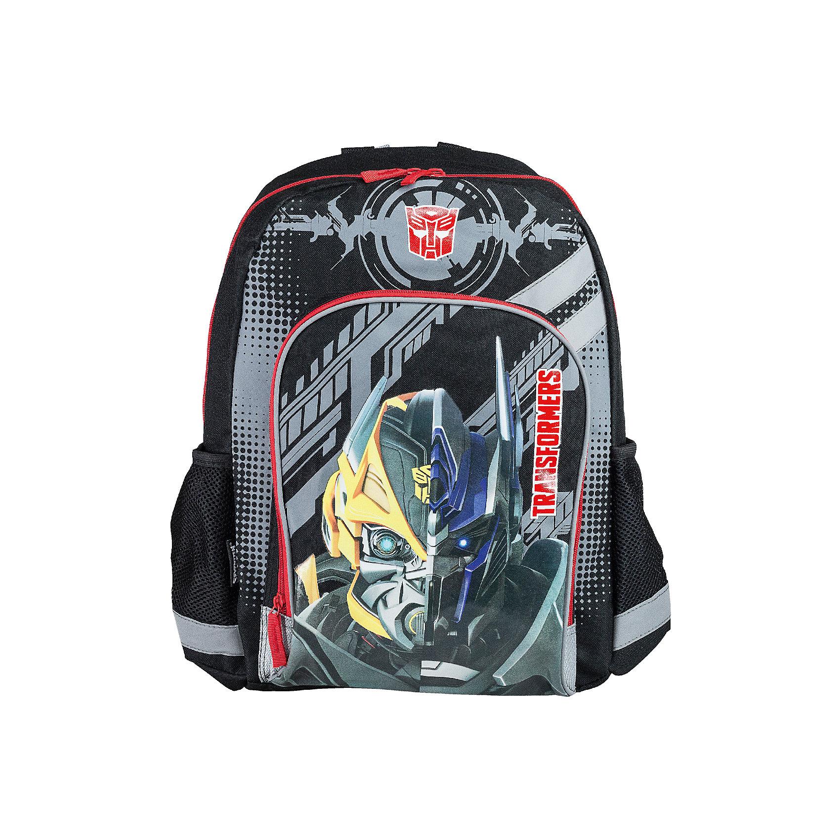 Рюкзак школьный Kinderline TransformersРюкзаки<br>Рюкзак, с одним отделением на молнии, фронтальным карманом на молнии и двумя боковыми карманами; внутри отделения - один разделитель и откидное внутреннее дно; мягкая спинка выполнена из поролона обтянутого воздухообменной сеткой; лямки анатомической S-образной формы обтянуты воздухообменной сеткой, регулируются по длине; для безопасности рюкзак снабжен светоотражающими элементами. Размер 40 х 30 х 13 см.<br><br>Ширина мм: 130<br>Глубина мм: 300<br>Высота мм: 400<br>Вес г: 497<br>Возраст от месяцев: 72<br>Возраст до месяцев: 108<br>Пол: Мужской<br>Возраст: Детский<br>SKU: 6891457
