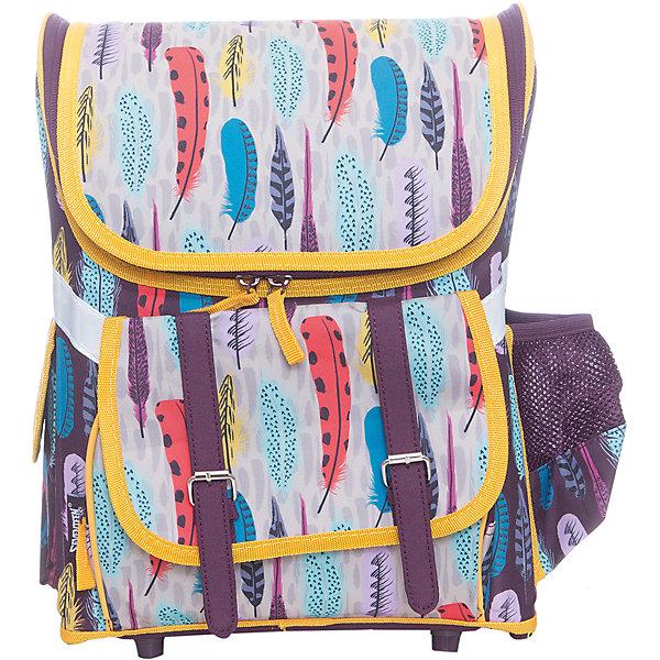 Ранец-трансформер Kinderline, без наполненияРанцы<br>Характеристики товара:<br><br>• цвет: фиолетовый, желтый<br>• эргономичная спинка<br>• анатомическая форма лямок;<br>• одно основное отделение;<br>• застегивается на молнию;<br>• внешний карман на молнии;<br>• боковые карманы;<br>• пластиковые ножки;<br>• светоотражающие элементы;<br>• возраст: от 6 лет;<br>• размер: 36х26х17 см;<br>• материал: полиэстер, пластик;<br>• вес: 850 грамм;<br>• страна: Китай.<br><br>Ранец - одна из самых необходимых вещей для школьников. Ранец Seventeen имеет одно основное отделение с двумя зафиксированными разделителями. Ранец застегивается на молнию.<br><br>На внешней стороне есть дополнительный карман, застёгивающийся на молнию. По бокам расположены 2 небольших кармана. С одной стороны - карман в сеточку. С другой стороны - карман на липучке. Спинка ранца для первоклассника твердая, выполнена из водонепроницаемого материала.<br><br>Лямки имеют анатомическую форму. Они регулируются по длине и хорошо пропускают воздух. Дно ранца дополнено пластиковыми ножками для придания устойчивости и удобства хранения.<br>Рюкзак имеет светоотражающие элементы, которые обеспечат безопасность ребенка в темное время суток.<br><br>Seventeen (Севентин) Ранец профилактический Размер 36 х 26 х 17 см можно купить в нашем интернет-магазине.<br><br>Ширина мм: 360<br>Глубина мм: 260<br>Высота мм: 170<br>Вес г: 850<br>Возраст от месяцев: 72<br>Возраст до месяцев: 2147483647<br>Пол: Женский<br>Возраст: Детский<br>SKU: 6892421