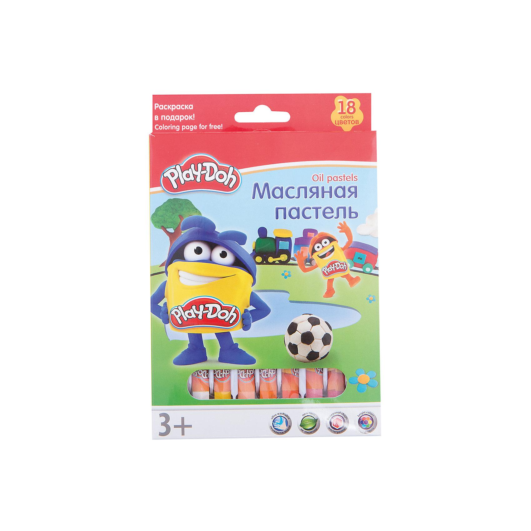 Play-Doh Масляная пастель 18 цветов в картонной коробке + 2 раскраски Размер 19,8 х 13 х 1,8 см.Масляные и восковые мелки<br>Характеристики товара:<br><br>• в комплекте: 18 мелков, 2 раскраски;<br>• размер мелка: 7,2х1,1 см;<br>• возраст: от 3-х лет;<br>• размер упаковки: 1,8х13х19,8 см;<br>• вес: 198 грамм;<br>• страна: Китай.<br><br>С масляной пастелью ребенок создаст яркие и красивые рисунки, которые станут украшением любого дома. В комплект входят 18 мелков и 2 раскраски.<br><br>Мелки имеет обертку, чтобы ребенок не испачкался во время рисования. Пастель хорошо ложится на поверхность, оставляя мягкие штрихи.<br><br>Play-Doh (Плей До) Масляную пастель 18 цветов в картонной коробке + 2 раскраски Размер 19,8 х 13 х 1,8 см можно купить в нашем интернет-магазине.<br><br>Ширина мм: 198<br>Глубина мм: 130<br>Высота мм: 18<br>Вес г: 200<br>Возраст от месяцев: 36<br>Возраст до месяцев: 72<br>Пол: Унисекс<br>Возраст: Детский<br>SKU: 6892445
