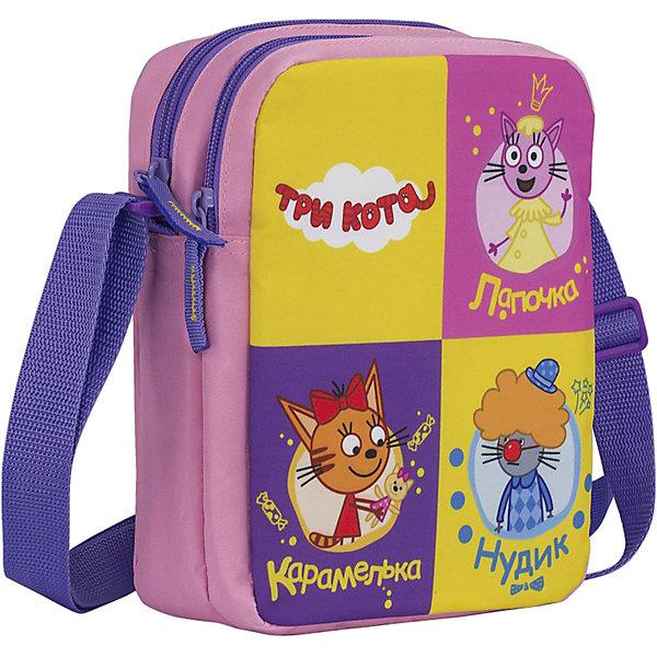 Сумка детская Kinderline Три котаДетские сумки<br>Характеристики товара:<br><br>• цвет: розовый, фиолетовый<br>• одно отделение;<br>• застегивается на молнию;<br>• регулируемый ремень;<br>• размер: 22х18х7 см;<br>• возраст: от 3-х лет;<br>• вес: 128 грамм;<br>• страна: Китай.<br><br>Сумка Три Кота изготовлена из прочного износостойкого материала. Она имеет одно вместительное отделение, застегивающееся с помощью молнии. <br><br>Для удобства ребенка плечевой ремень имеет широкую поверхность и регулируемую длину. Сумка через плечо оформлена красочным изображением персонажей мультфильма «Три Кота».<br><br>Три кота Сумку на плечо Размер 22 х 18 х 7 см можно купить в нашем интернет-магазине.<br><br>Ширина мм: 220<br>Глубина мм: 180<br>Высота мм: 70<br>Вес г: 128<br>Возраст от месяцев: 36<br>Возраст до месяцев: 2147483647<br>Пол: Унисекс<br>Возраст: Детский<br>SKU: 6892447