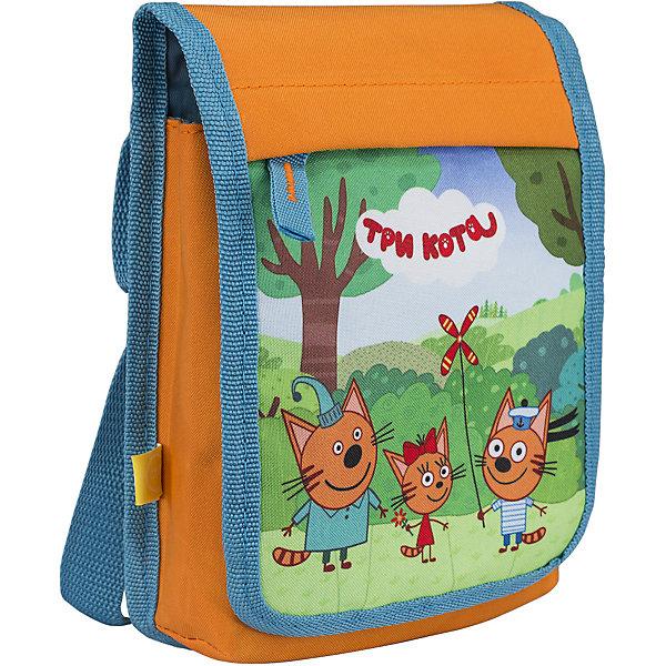 Сумка детская Kinderline Три котаДетские сумки<br>Характеристики товара:<br><br>• цвет: оранжевый<br>• одно отделение;<br>• закрывается клапаном;<br>• внешний карман на клапане;<br>• регулируемый ремень;<br>• размер: 20,5х15х5 см;<br>• возраст: от 3-х лет;<br>• вес: 100 грамм;<br>• страна: Китай.<br><br>Сумка Три кота - прекрасный вариант для прогулок. Сумка имеет одно отделение, закрывающееся большим клапаном.<br><br>На клапане есть дополнительный карман для мелочей. Плечевой ремень сумки можно регулировать по длине. Сумка декорирована красочным изображением персонажей мультфильма «Три кота».<br><br>Три кота Сумку на плечо Размер 20,5 х 15 х 5 см можно купить в нашем интернет-магазине.<br><br>Ширина мм: 205<br>Глубина мм: 150<br>Высота мм: 50<br>Вес г: 100<br>Возраст от месяцев: 36<br>Возраст до месяцев: 2147483647<br>Пол: Унисекс<br>Возраст: Детский<br>SKU: 6892453