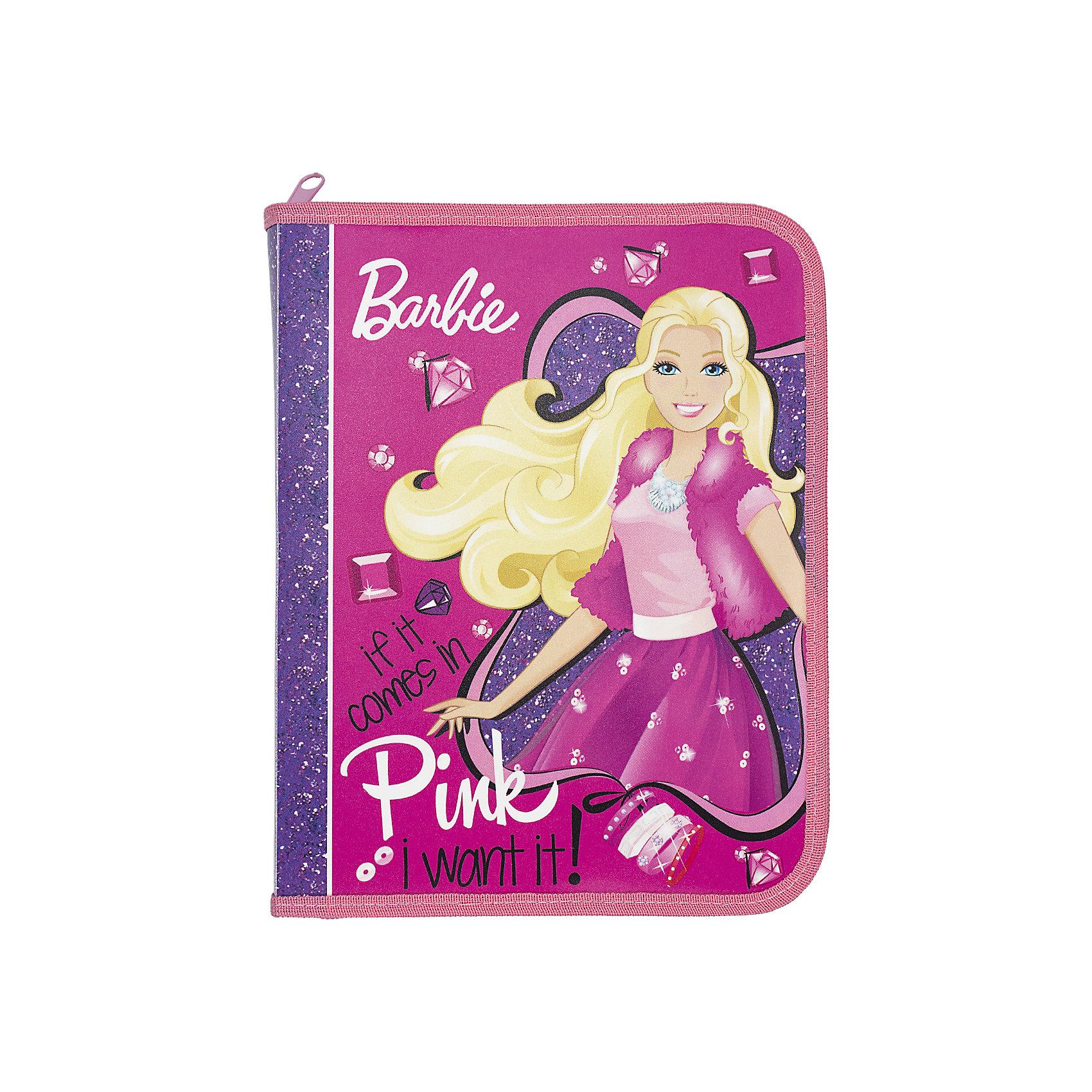 Папка для тетрадей Kinderline BarbieПапки для тетрадей<br>Характеристики товара:<br><br>• размер: 24х18,5х2,5 см;<br>• формат: А5;<br>• застегивается на молнию;<br>• возраст: от 5 лет;<br>• материал: полипропилен;<br>• вес: 56 грамм;<br>• страна: Китай.<br><br>Папка Barbie предназначена для хранения и транспортировки тетрадей, канцелярских принадлежностей и других предметов.<br><br>Папка изготовлена из полипропилена, надежно защищающего тетради и документы от повреждений. Основное отделение папки застегивается на молнию. Лицевая сторона оформлена красочным изображением Барби.<br><br>Barbie (Барби) Папка д/тетрадей Размер 24 x 18,5 x 2,5 см можно купить в нашем интернет-магазине.<br><br>Ширина мм: 240<br>Глубина мм: 185<br>Высота мм: 25<br>Вес г: 56<br>Возраст от месяцев: 72<br>Возраст до месяцев: 2147483647<br>Пол: Женский<br>Возраст: Детский<br>SKU: 6892492