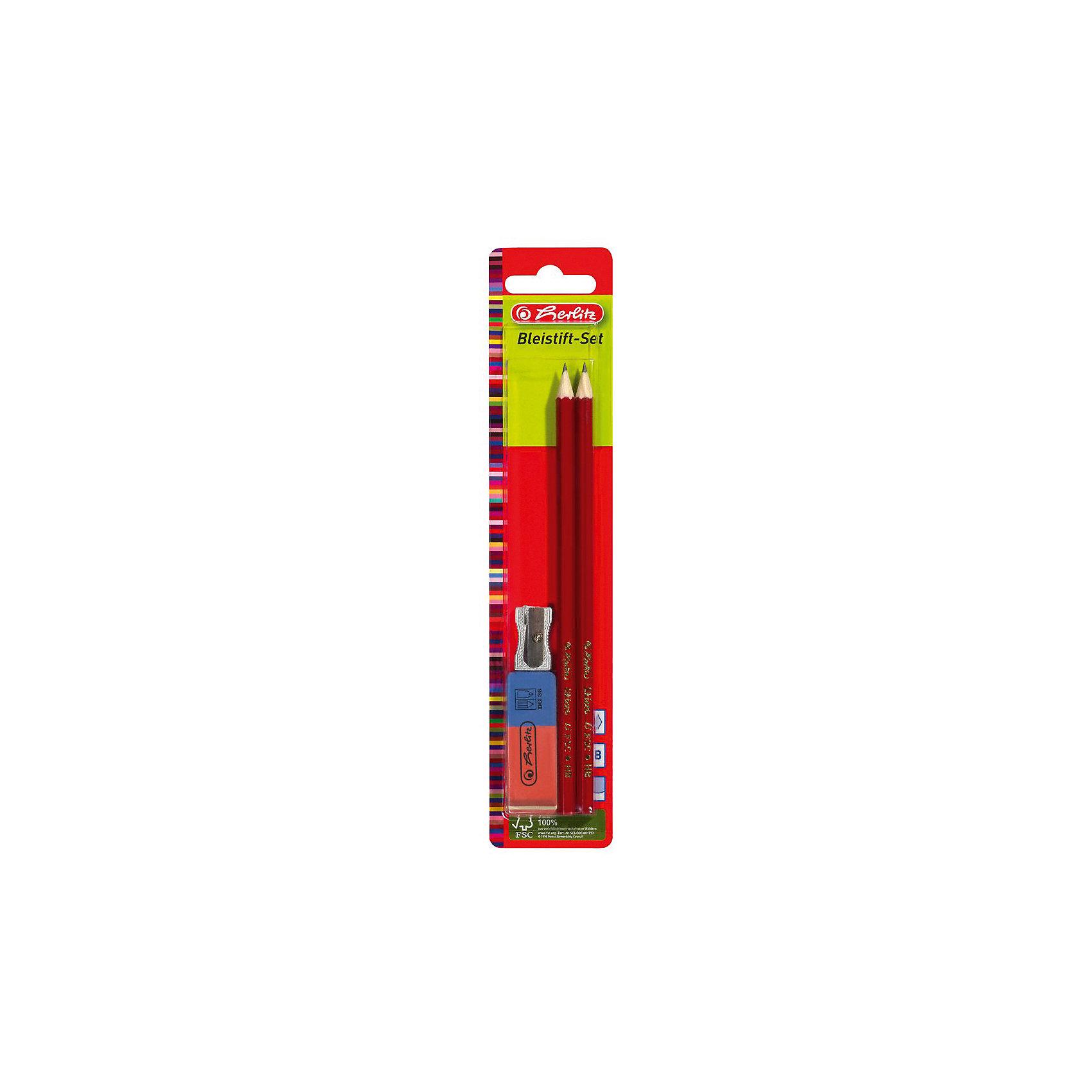 Herlitz Набор: 2 карандаша, точилка,ластикШкольные аксессуары<br>Характеристики:<br><br>• возраст: от 3 лет<br>• в наборе: карандаши чернографитные 2 шт., ластик, точилка с 1 отверстием<br>• твердость грифеля: НВ<br>• материал корпуса карандашей: древесина<br>• упаковка: блистер<br>• размер упаковки: 11х5х2 см.<br><br>Набор Herlitz (Херлиц) состоит из четырех базовых предметов для черчения — два карандаша, ластик и точилка. Карандаши с классическим шестигранным окрашенным корпусом, твердостью грифеля НВ. Древесина имеет сертификат экологически ответственного управления лесными ресурсами FSC.<br><br>Ластик двусторонний, предназначен для стирания, как карандаша, так и чернил.<br><br>Точилка c 1 отверстием, без контейнера, в алюминиевом корпусе предназначена для заточки карандашей диаметром 8 мм.<br><br>Herlitz Набор: 2 карандаша, точилка,ластик можно купить в нашем интернет-магазине.<br><br>Ширина мм: 140<br>Глубина мм: 490<br>Высота мм: 2350<br>Вес г: 0<br>Возраст от месяцев: 36<br>Возраст до месяцев: 2147483647<br>Пол: Унисекс<br>Возраст: Детский<br>SKU: 6892621