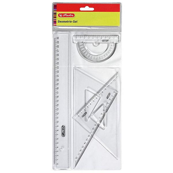 Herlitz Набор геометрический., 4 предмета, пластикЧертежные принадлежности<br>Характеристики:<br><br>• возраст: от 3 лет<br>• в наборе: линейка 30 см.; транспортир на 180 градусов (10 см); 2 треугольника 30° и 45° (18 см,13 см).<br>• цвет: прозрачный<br>• материал: пластик<br>• упаковка: пакет<br>• размер упаковки: 39х17х0,5 см.<br><br>Геометрический набор от Herlitz (Херлиц) выполнен из прочного пластика прозрачного цвета. Набор включает в себя все, что необходимо школьнику: линейку 30 см, транспортир на 180 градусов (10 см); 2 треугольника 30° и 45° (18 см,13 см). Все предметы с ровной и четкой миллиметровой шкалой делений.<br><br>Herlitz Набор геометрический., 4 предмета, пластик можно купить в нашем интернет-магазине.<br>Ширина мм: 80; Глубина мм: 167; Высота мм: 400; Вес г: 0; Возраст от месяцев: 36; Возраст до месяцев: 2147483647; Пол: Унисекс; Возраст: Детский; SKU: 6892625;