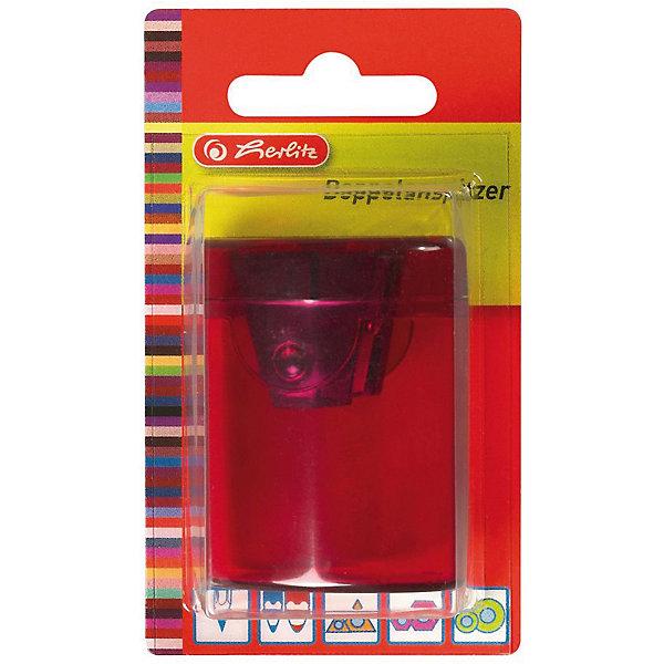Herlitz Точилка-бочонок, 2 отверстия, пластиковый корпус, блистерПисьменные принадлежности<br>Характеристики:<br><br>• возраст: от 3 лет<br>• цвет в ассортименте<br>• количество отверстий: 2<br>• материал корпуса: пластик<br>• материал лезвия: металл<br>• размер: 4,5х4х4 см.<br>• упаковка: блистер<br>• размер упаковки: 11х8х5 см.<br>• ВНИМАНИЕ! Данный артикул представлен в разных вариантах исполнения. К сожалению, заранее выбрать определенный вариант невозможно. При заказе нескольких точилок возможно получение одинаковых<br><br>Точилка-бочонок с 2 отверстиями от Herlitz (Херлиц), выполненная из пластика предназначена для заточки карандашей диаметром 8 мм и 11 мм. Точилка снабжена металлическими лезвиями высокого качества. Имеется контейнер для стружки.<br><br>Herlitz Точилку-бочонок, 2 отверстия, пластиковый корпус, блистер можно купить в нашем интернет-магазине.<br><br>Ширина мм: 350<br>Глубина мм: 64<br>Высота мм: 11<br>Вес г: 0<br>Возраст от месяцев: 36<br>Возраст до месяцев: 2147483647<br>Пол: Унисекс<br>Возраст: Детский<br>SKU: 6892630
