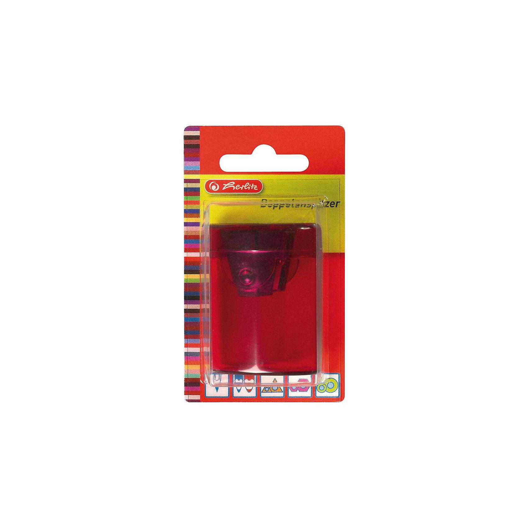 Herlitz Точилка-бочонок, 2 отверстия, пластиковый корпус, блистерКанцтовары для первоклассников<br>Характеристики:<br><br>• возраст: от 3 лет<br>• цвет в ассортименте<br>• количество отверстий: 2<br>• материал корпуса: пластик<br>• материал лезвия: металл<br>• размер: 4,5х4х4 см.<br>• упаковка: блистер<br>• размер упаковки: 11х8х5 см.<br>• ВНИМАНИЕ! Данный артикул представлен в разных вариантах исполнения. К сожалению, заранее выбрать определенный вариант невозможно. При заказе нескольких точилок возможно получение одинаковых<br><br>Точилка-бочонок с 2 отверстиями от Herlitz (Херлиц), выполненная из пластика предназначена для заточки карандашей диаметром 8 мм и 11 мм. Точилка снабжена металлическими лезвиями высокого качества. Имеется контейнер для стружки.<br><br>Herlitz Точилку-бочонок, 2 отверстия, пластиковый корпус, блистер можно купить в нашем интернет-магазине.<br><br>Ширина мм: 350<br>Глубина мм: 64<br>Высота мм: 11<br>Вес г: 0<br>Возраст от месяцев: 36<br>Возраст до месяцев: 2147483647<br>Пол: Унисекс<br>Возраст: Детский<br>SKU: 6892630