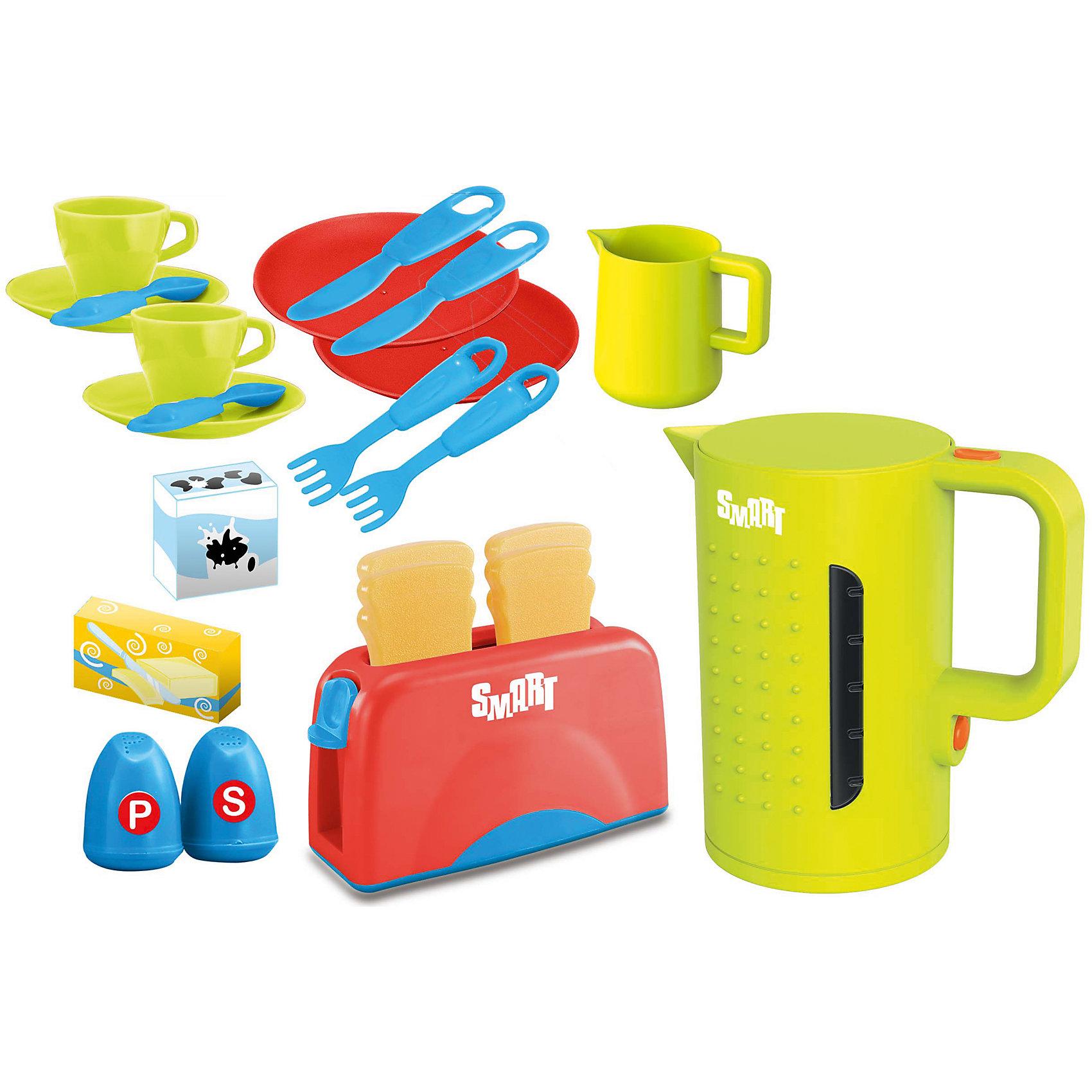 Набор для завтрака, 21 предмет, HTIИгрушечная бытовая техника<br>Характеристики товара:<br><br>• в комплекте: чайник, тостер, чашки, блюдца, ложки, ножи, вилки, молочник, перечница, солонка;<br>• световые и звуковые эффекты;<br>• материал: пластик, металл;<br>• батарейки: не входят в комплект;<br>• возраст: от 3-х лет;<br>• размер упаковки: 38х10х38 см;<br>• вес: 1 кг;<br>• страна бренда: Англия.<br><br>Набор для завтрака от английского бренда HTI содержит всё необходимое для приготовления вкусного завтрака друзьям и любимым игрушкам. В набор входят столовые приборы, посуда, чайник и тостер. Набор рассчитан на две персоны.<br><br>Чайник и тостер со световыми и звуковыми эффектами придадут игре реалистичности. Приборы оснащены небольшими кнопками, которые помогут ребенку разобраться с принципом включения и выключения бытовой техники.<br><br>Набор для завтрака, 21 предмет, HTI (Хти) можно купить в нашем интернет-магазине.<br><br>Ширина мм: 380<br>Глубина мм: 100<br>Высота мм: 380<br>Вес г: 1000<br>Возраст от месяцев: 36<br>Возраст до месяцев: 144<br>Пол: Унисекс<br>Возраст: Детский<br>SKU: 6893354