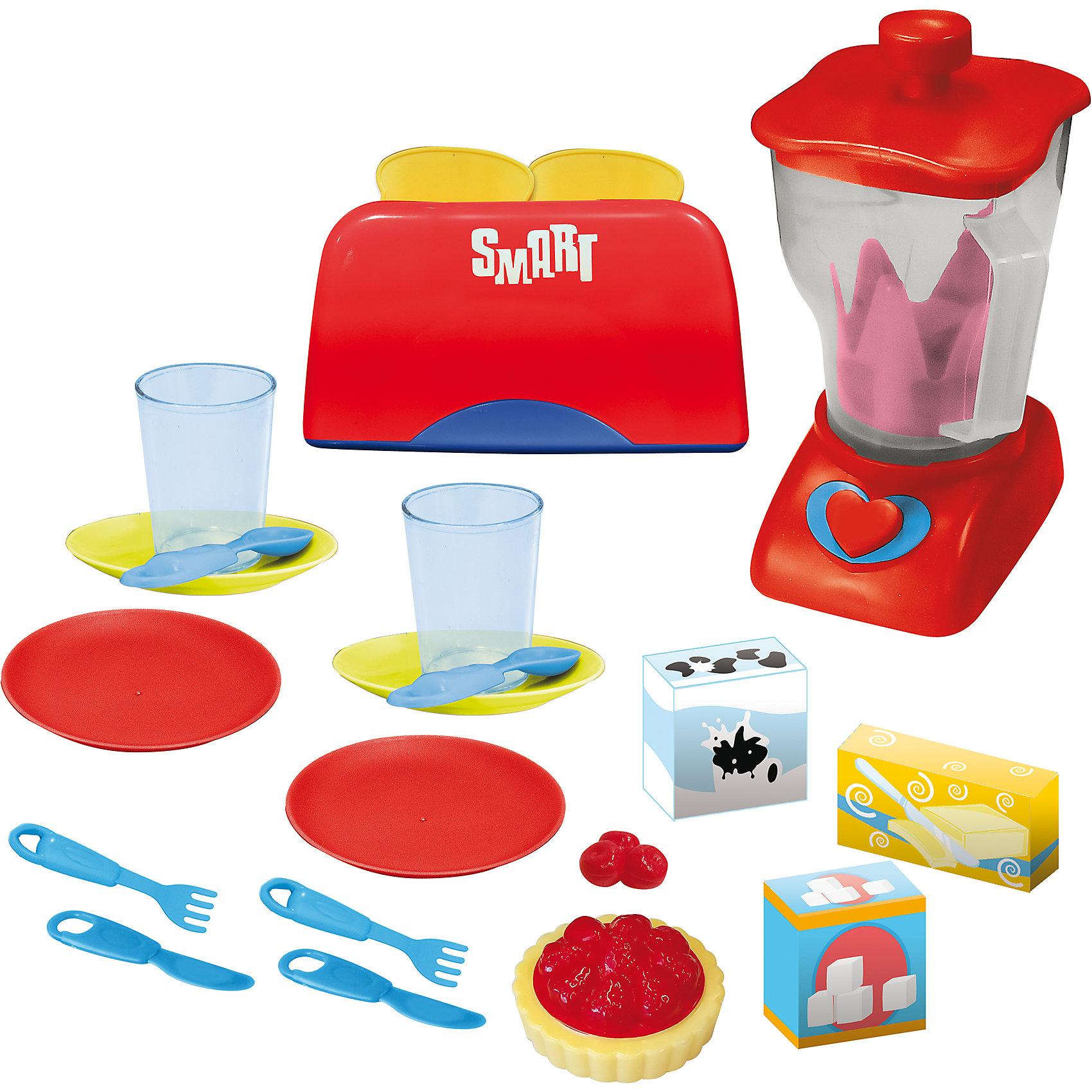 Набор для смузи, HTIИгрушечная бытовая техника<br>Характеристики товара:<br><br>• в комплекте:: блендер, тостер, тарелки, ложки, вилки, ножи, муляжи печенья;<br>• световые и звуковые эффекты;<br>• материал: пластик, металл;<br>• батарейки: АА - 2 шт. (не входят в комплект);<br>• возраст: от 3-х лет;<br>• размер упаковки: 38х10х38 см;<br>• вес: 1 кг;<br>• страна бренда: Англия.<br><br>Набор для смузи от английского бренда HTI состоит из блендера со съемной крышкой, тостера, муляжей печенья, посуды и столовых приборов на две персоны.<br><br>Тостер оснащен световыми и звуковыми эффектами, которую сделают игру более реалистичной. При нажатии на кнопку тосты извлекаются из отделения. Таким образом, ребенок научится обращаться с бытовыми приборами, чтобы в дальнейшем помогать родителям и даже готовить самостоятельно.<br><br>Для работы необходимы две батарейки АА (не входят в комплект).<br><br>Набор для смузи, HTI (Хти) можно купить в нашем интернет-магазине.<br><br>Ширина мм: 380<br>Глубина мм: 100<br>Высота мм: 380<br>Вес г: 1000<br>Возраст от месяцев: 36<br>Возраст до месяцев: 144<br>Пол: Унисекс<br>Возраст: Детский<br>SKU: 6893355