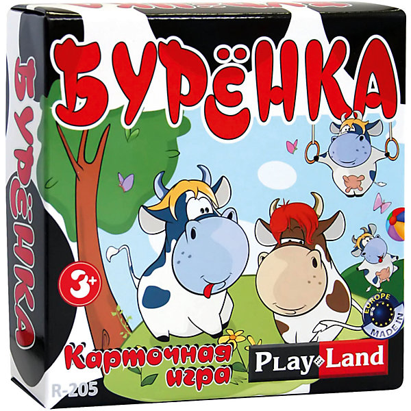 Настольная игра Буренка, Play LandИгры мемо<br>Характеристики товара:<br><br>• в комплекте:: 56 карт;<br>• количество игроков: 2-6;<br>• время игры: 30 минут;<br>• материал: пластик, картон;<br>• возраст: от 3-х лет;<br>• размер упаковки: 12х5х12 см;<br>• вес: 180 грамм;<br>• страна бренда: Болгария.<br><br>«Бурёнка» - занимательная настольная игра для детей от трех лет. <br><br>В комплект входят 56 карточек с изображением различных бурёнок. Каждая карточка имеет пару. Цель игры - собрать как можно больше пар одинаковых картинок. <br><br>Настольную игру Буренка, Play Land (Плей Лэнд) можно купить в нашем интернет-магазине.<br>Ширина мм: 120; Глубина мм: 50; Высота мм: 120; Вес г: 180; Возраст от месяцев: 36; Возраст до месяцев: 144; Пол: Унисекс; Возраст: Детский; SKU: 6893356;